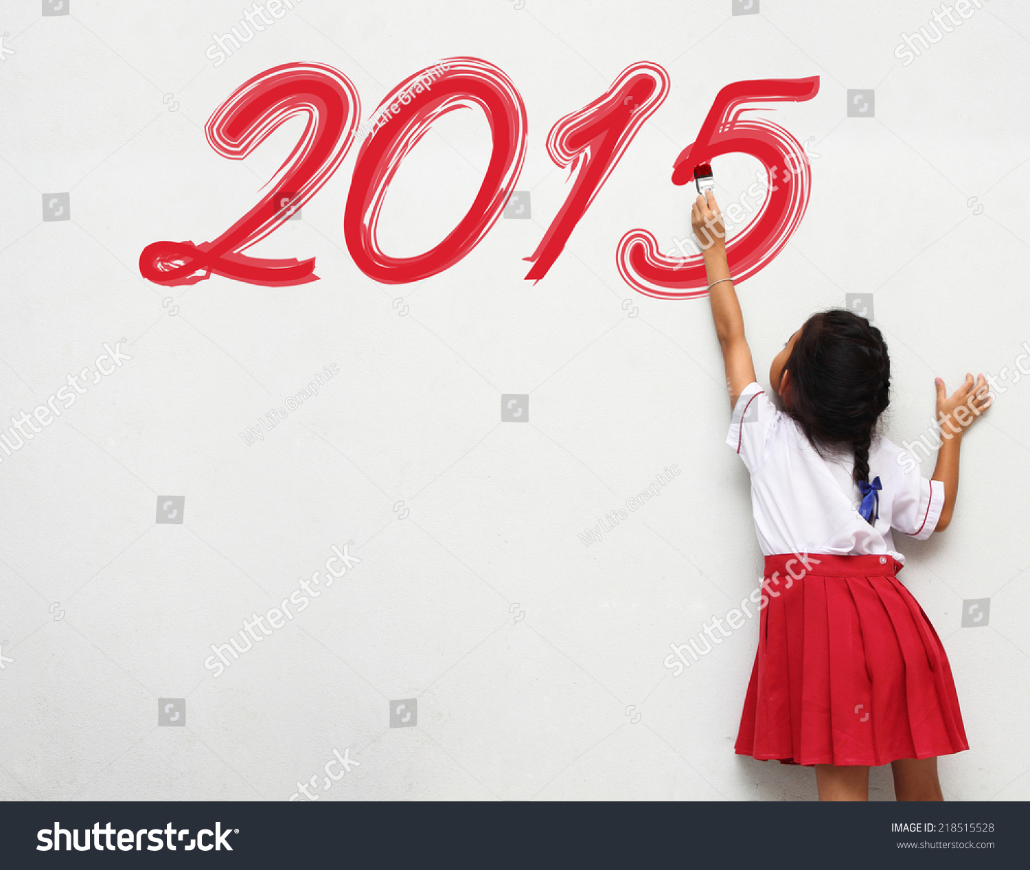Little Girl Write The Happy New Year 2015