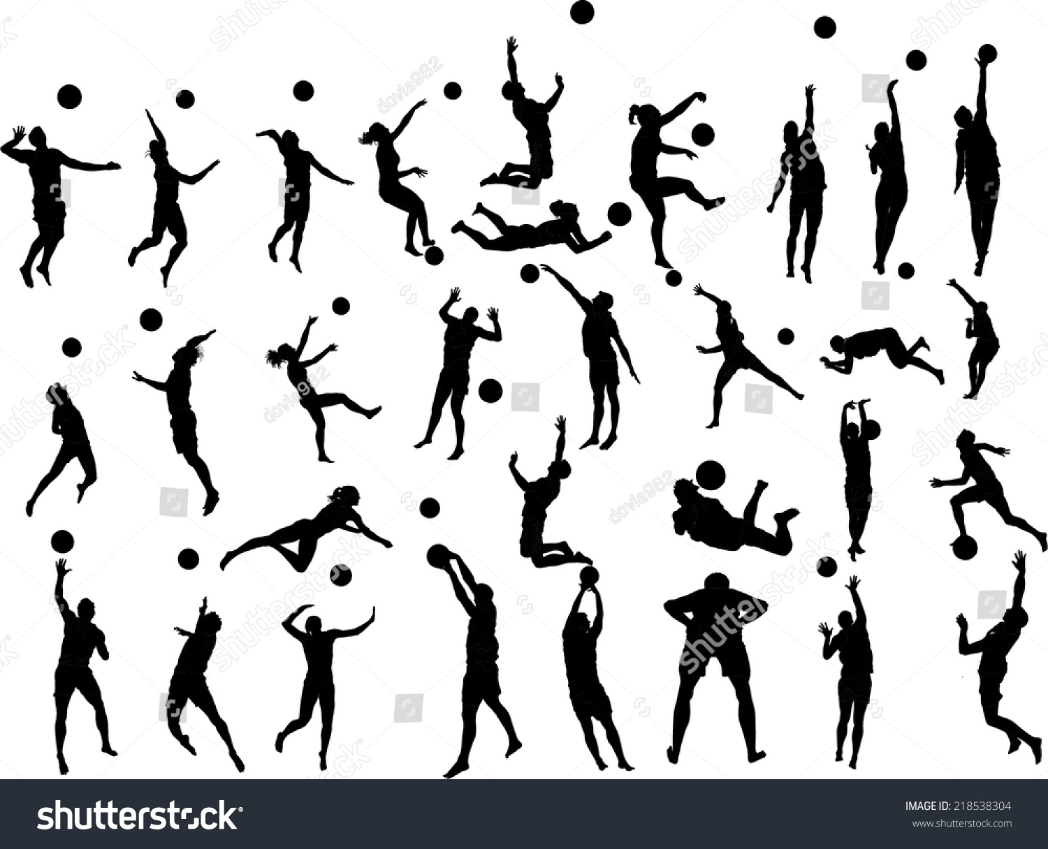 Beach Volleyball Players Vector Silhouette Illustration
