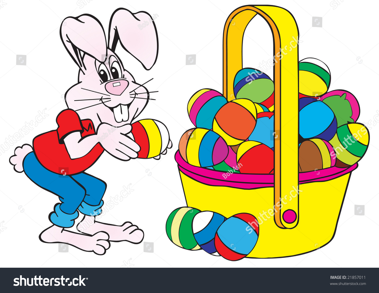 cartoon art rabbit easter bunny putting stock vector 21857011