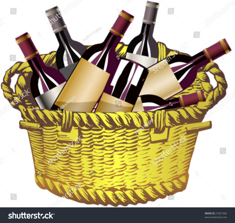 Basket With Bottles Of Wine Stock Vector Illustration ...