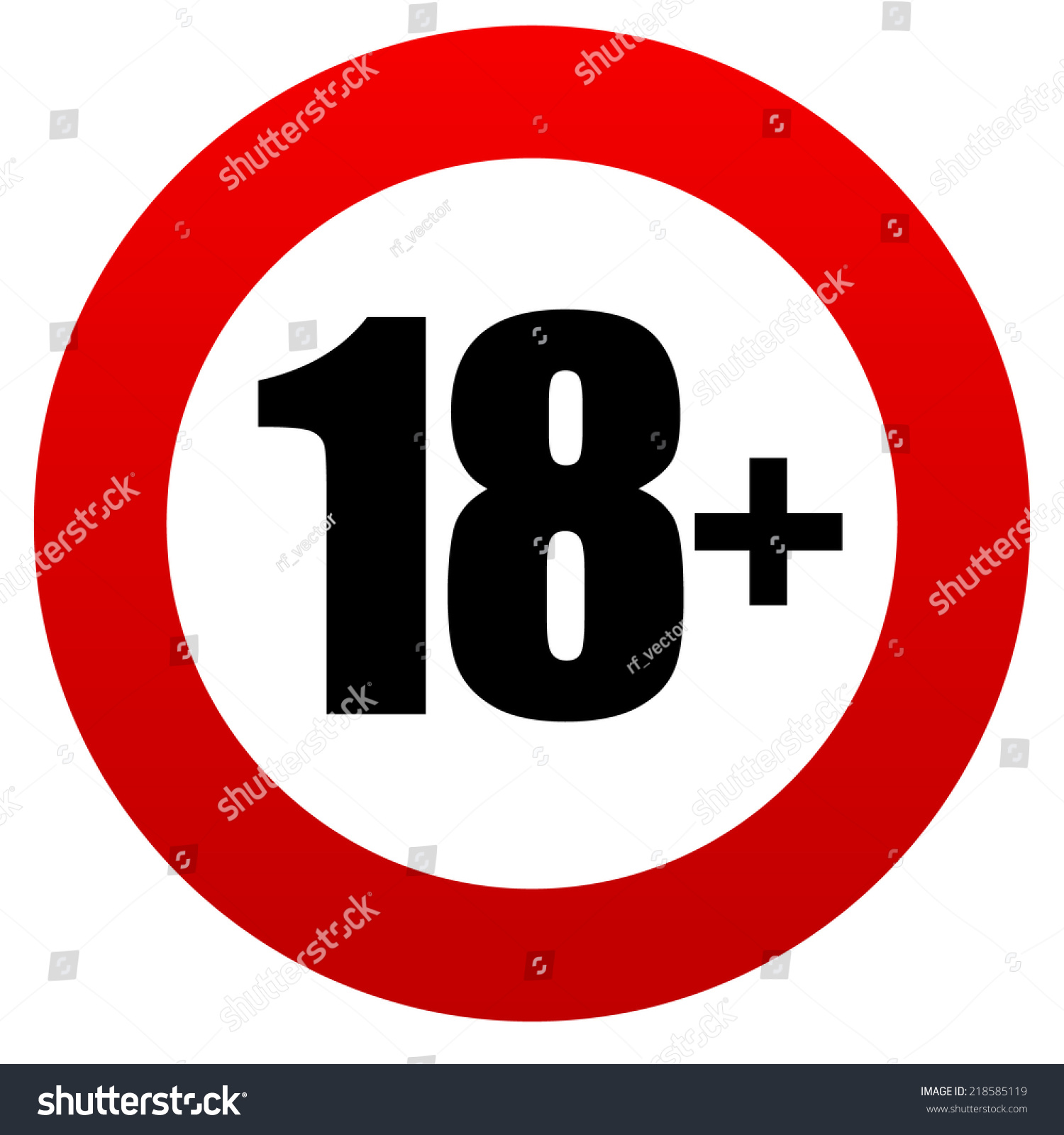 18 age restriction sign stock vector 218585119 shutterstock