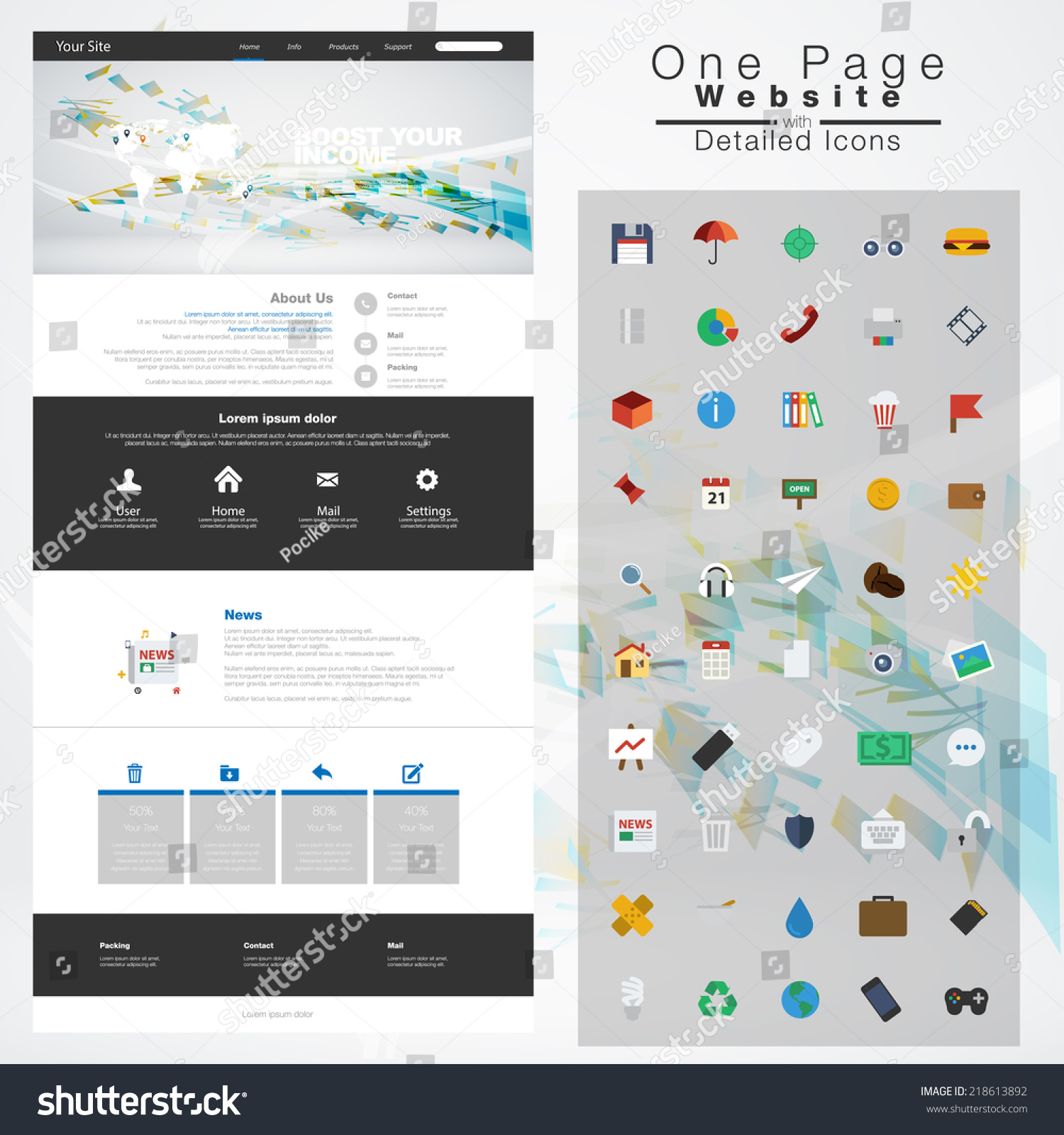 one page website design template all in one set for website design