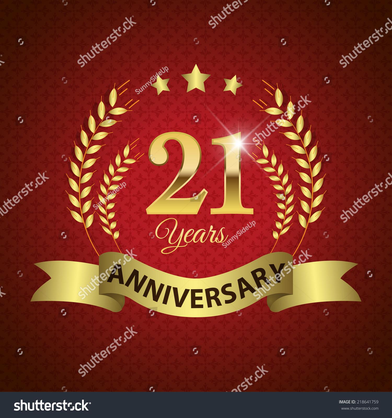 Celebrating 21 Years Anniversary Golden Laurel Stock Vector (Royalty ...