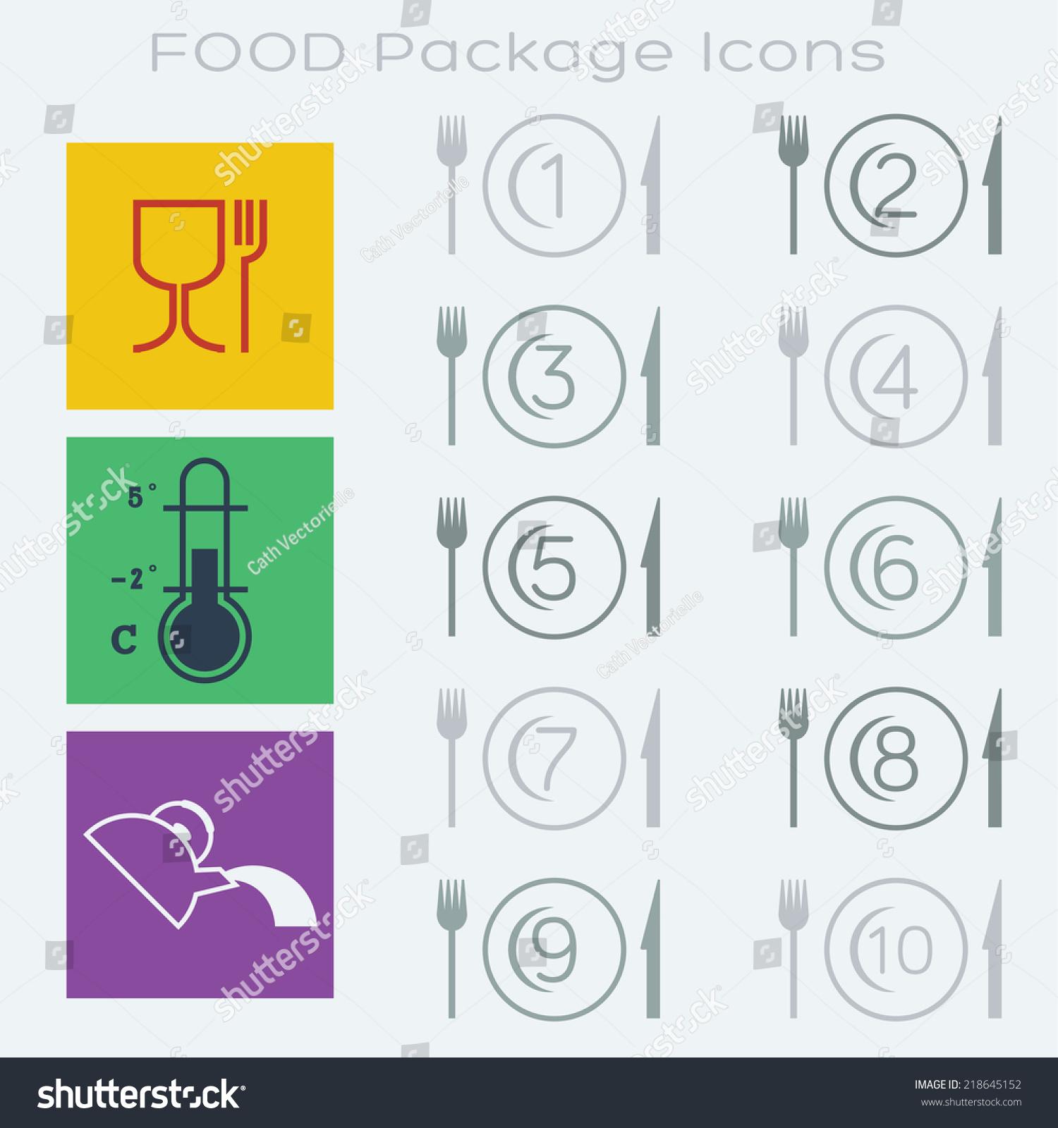 13 Food Packaging Symbols Portion Instructions Stock Illustration