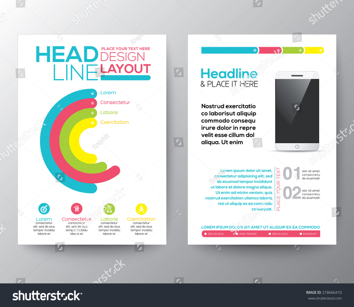 web design brochure template - graphic design layout smart phone concept stock vector