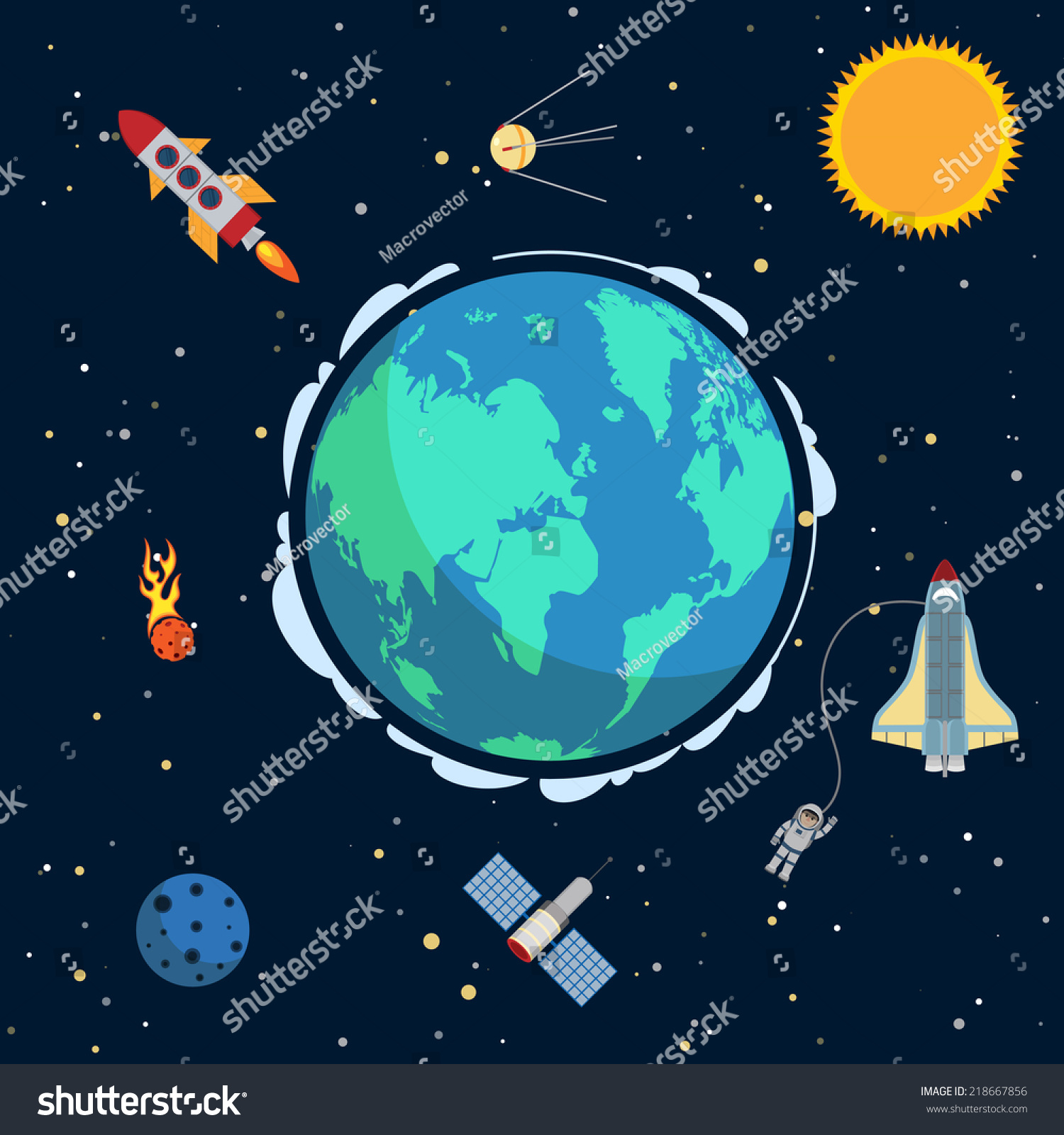 Earth space poster globe spacecrafts satellites stock for Outer space poster design