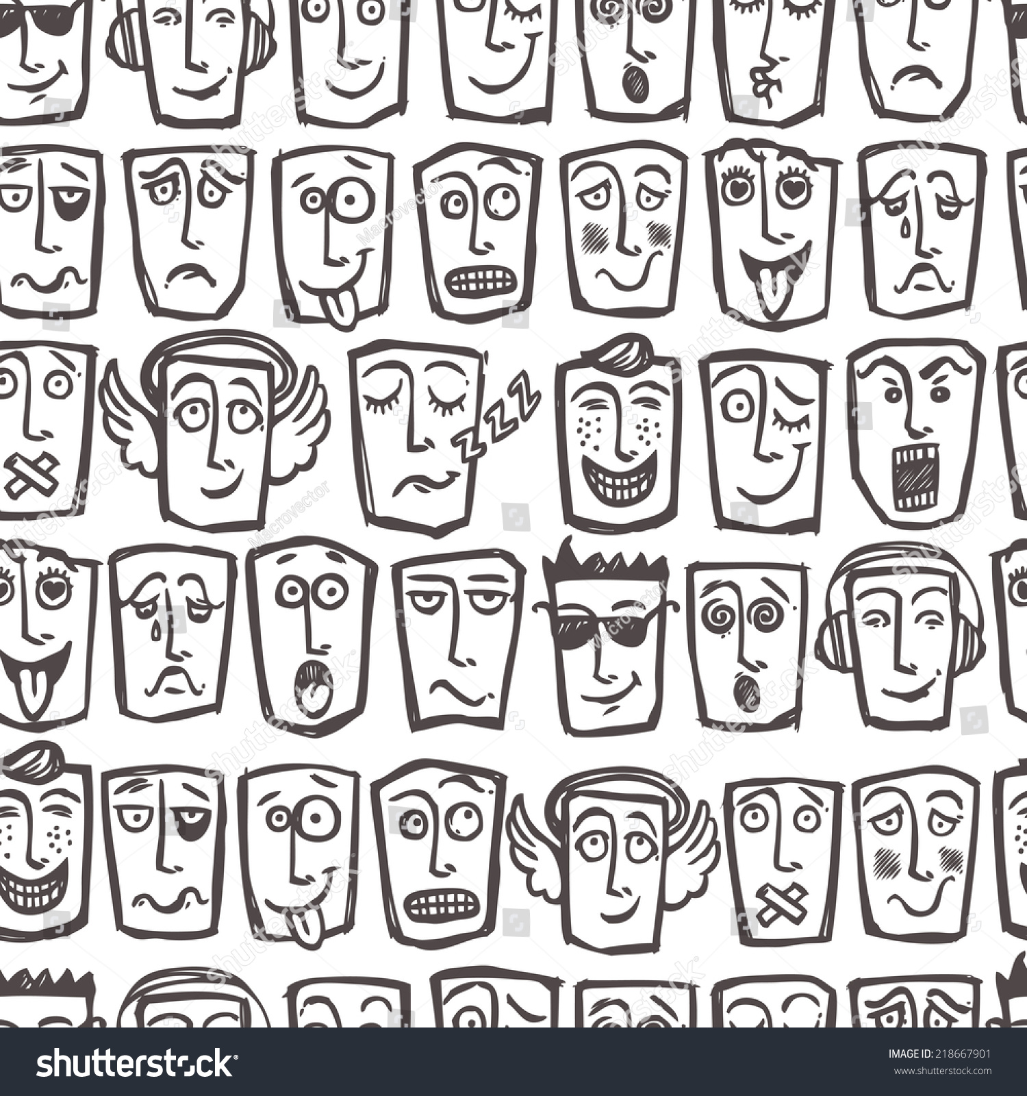 Sketch emoticons man face expressions and character seamless pattern vector illustration