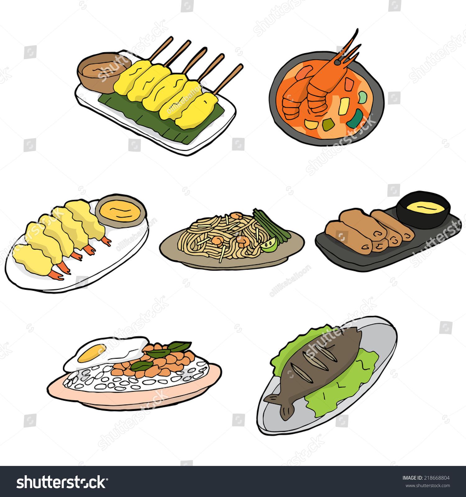 Vector Set Thai Food Stock Vector 218668804