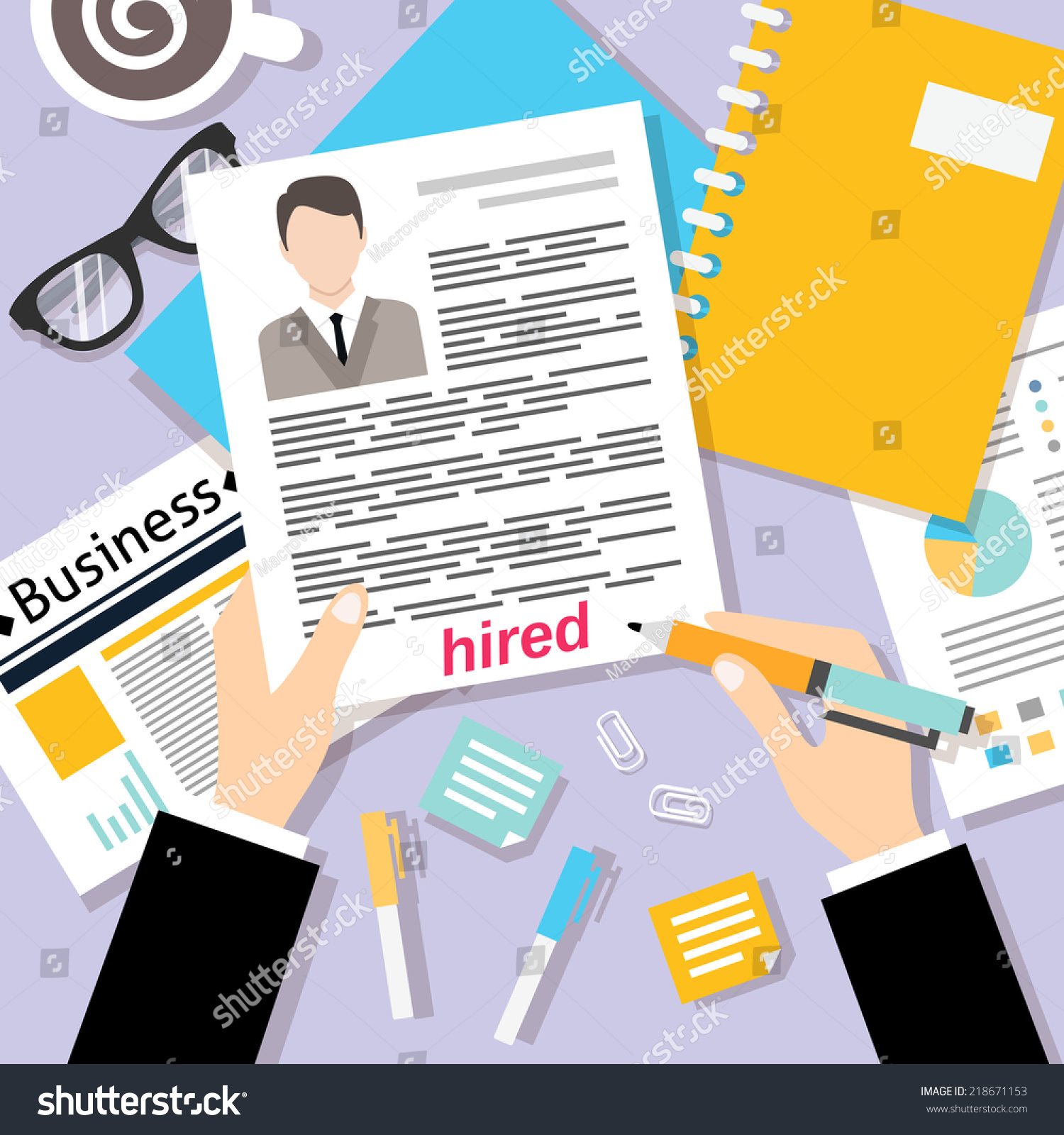 job interview concept with business cv resume vector illustration