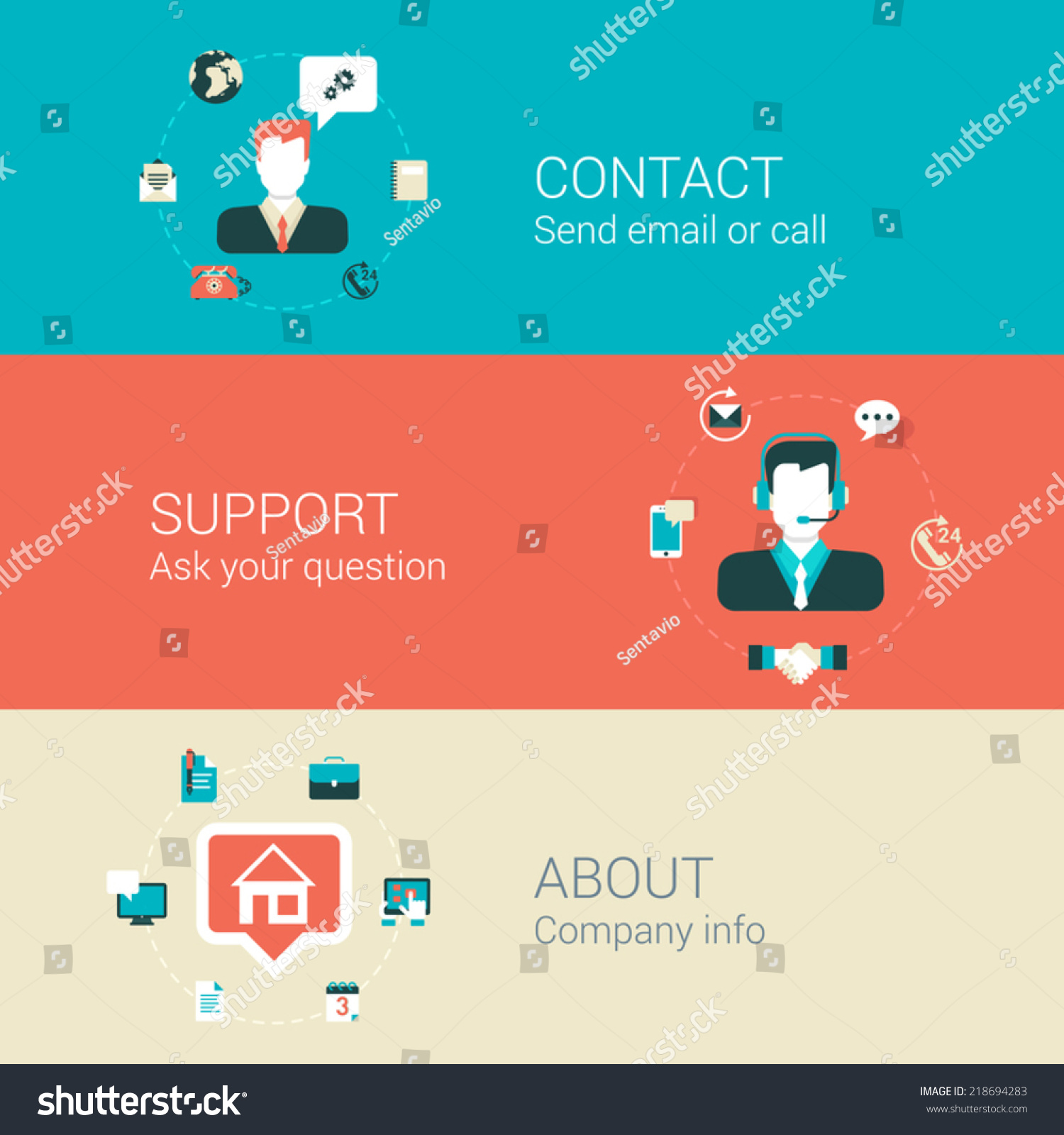 Contact Email: Website Webpage Category Concept Flat Icons Set Of Contact