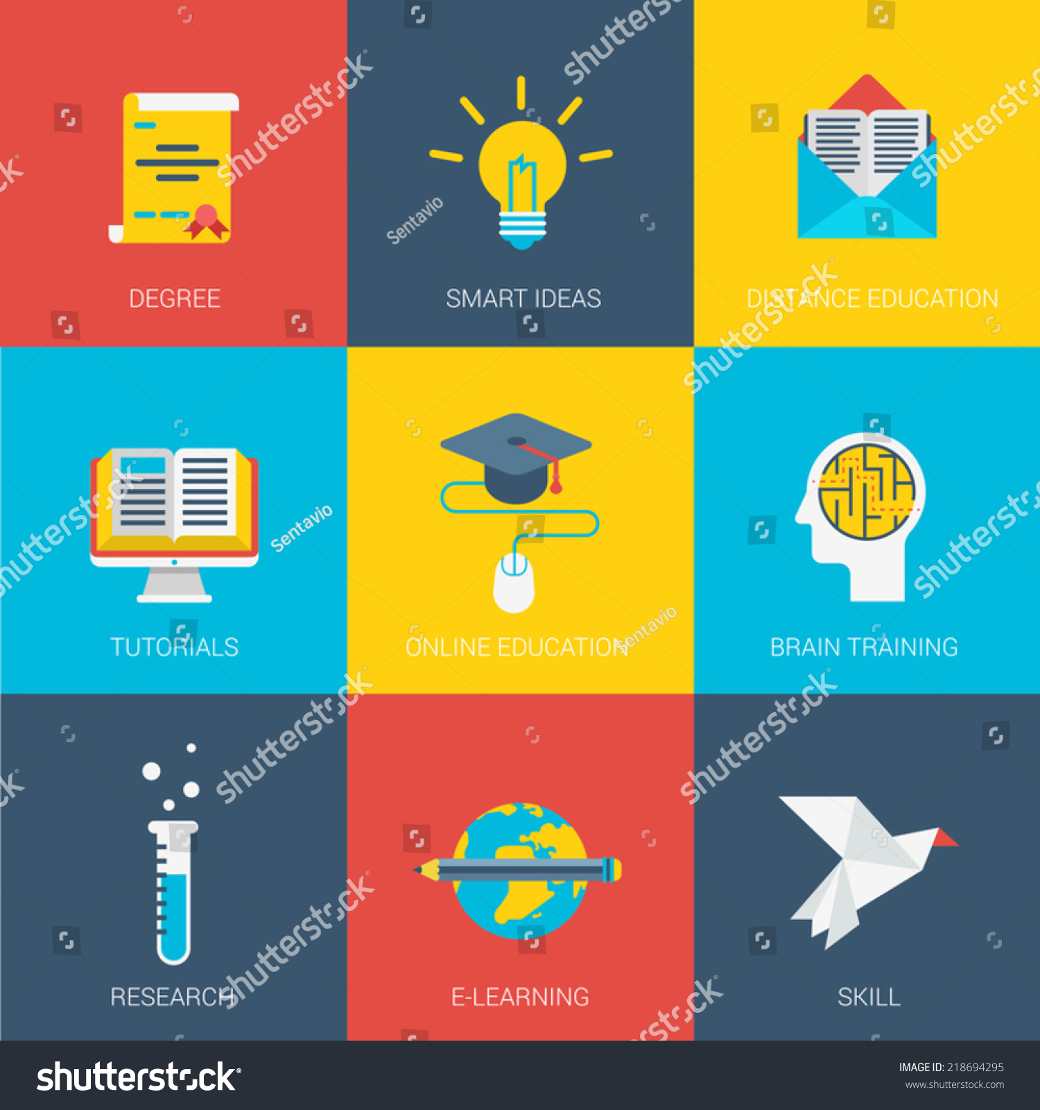 Graphic Designer Education And Training Graphic Design Careers Set Of Flat Design Concept Icons