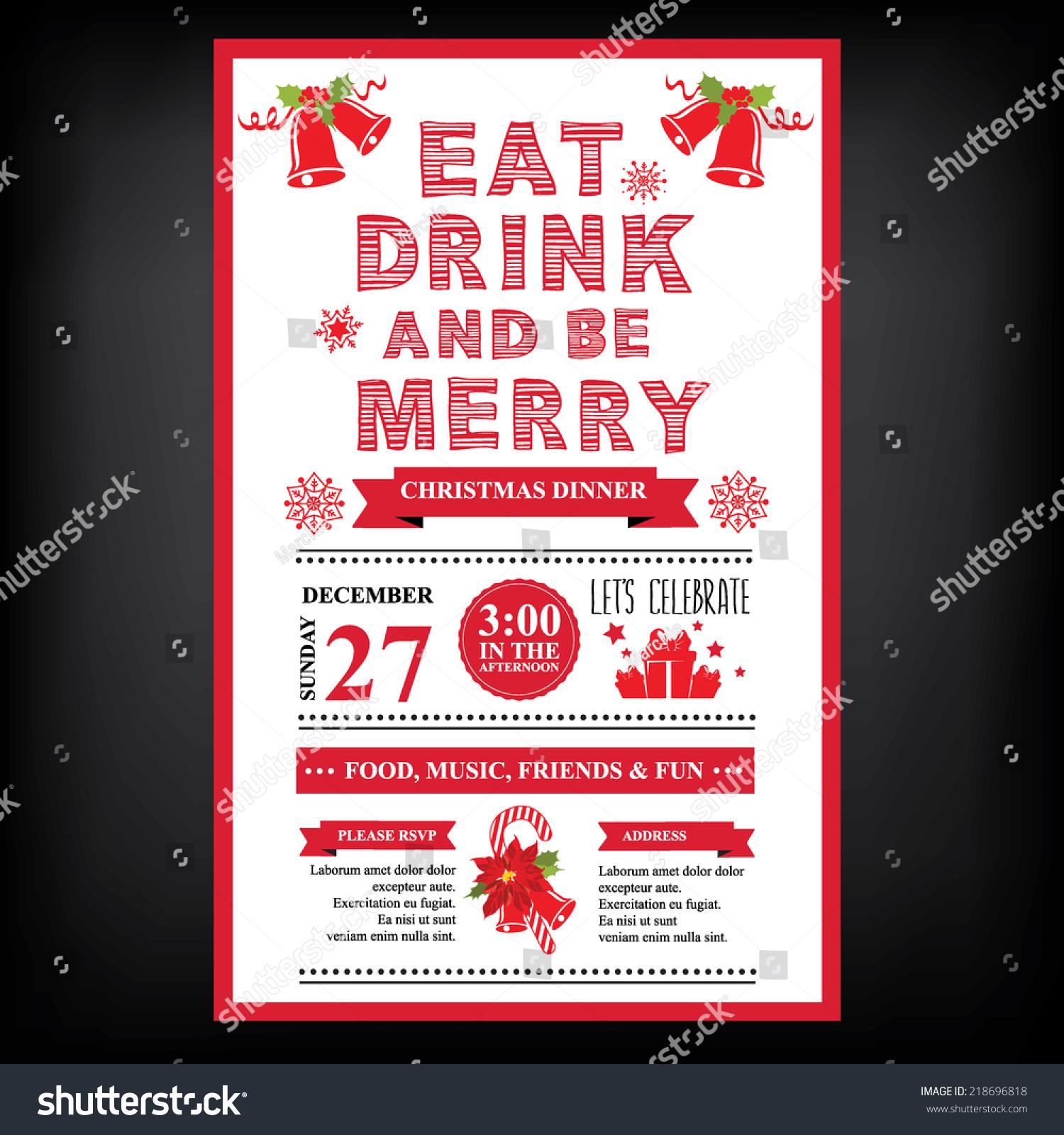 christmas restaurant party menu invitation stock vector