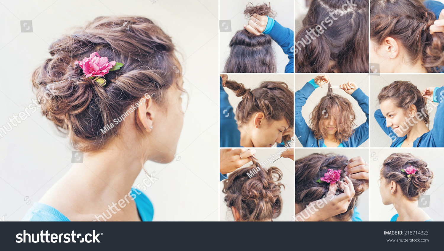 Magnificent Curly Updo Tutorial By Beauty Blogger Stock Photo 218714323 Short Hairstyles Gunalazisus