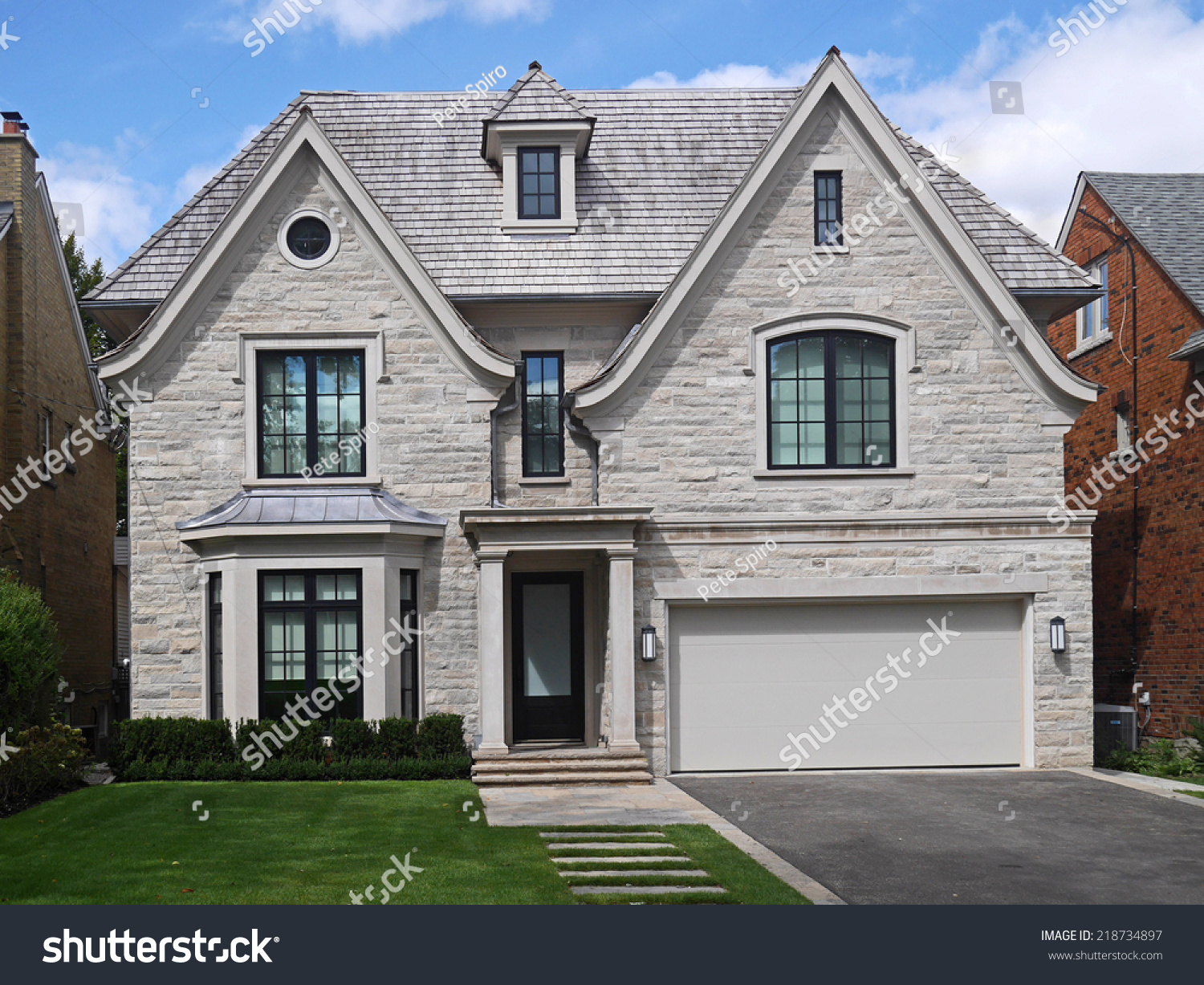 Stone Front House stone front house large gables stock photo 218734897 - shutterstock