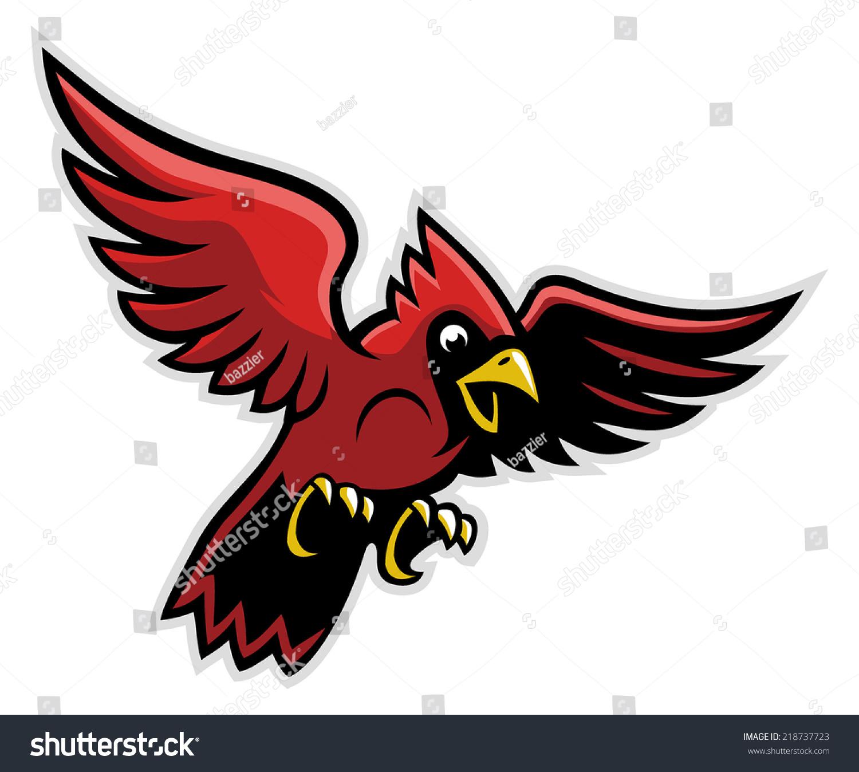 Flying Cardinal Bird Stock Vector 218737723 : Shutterstock