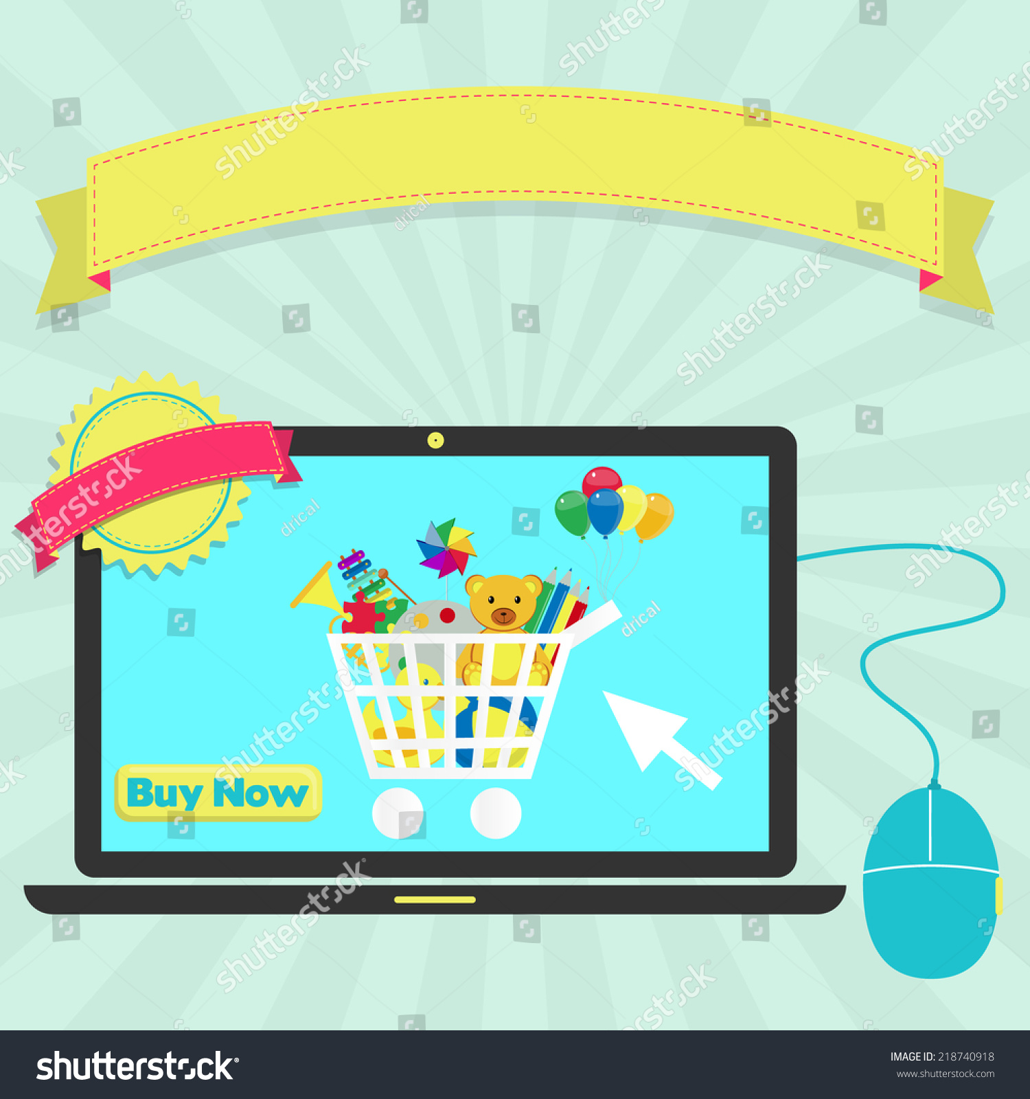 Buy Toys line Through Laptop Buy Stock Vector