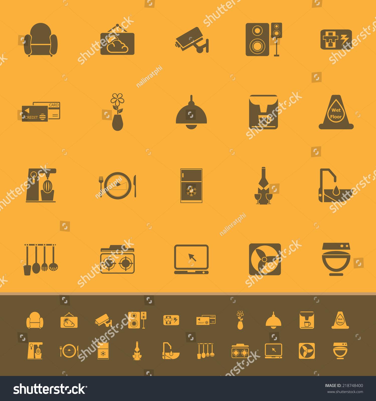 Vector De Stock Libre De Regalias Sobre Cafe Restaurant Color Icons On Orange218748400