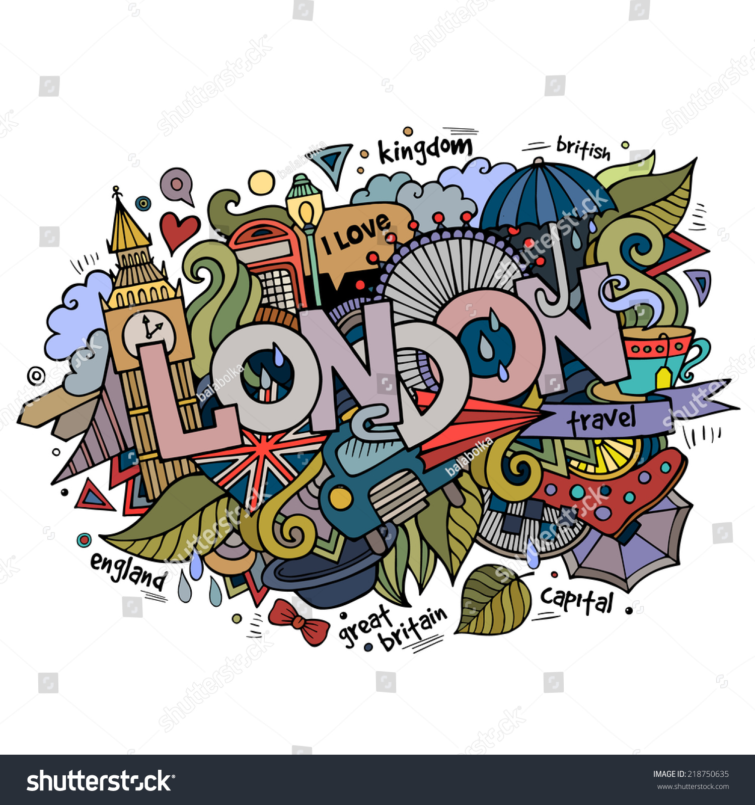 Stock vector music hand lettering and doodles elements - London Hand Lettering And Doodles Elements Background Vector Illustration