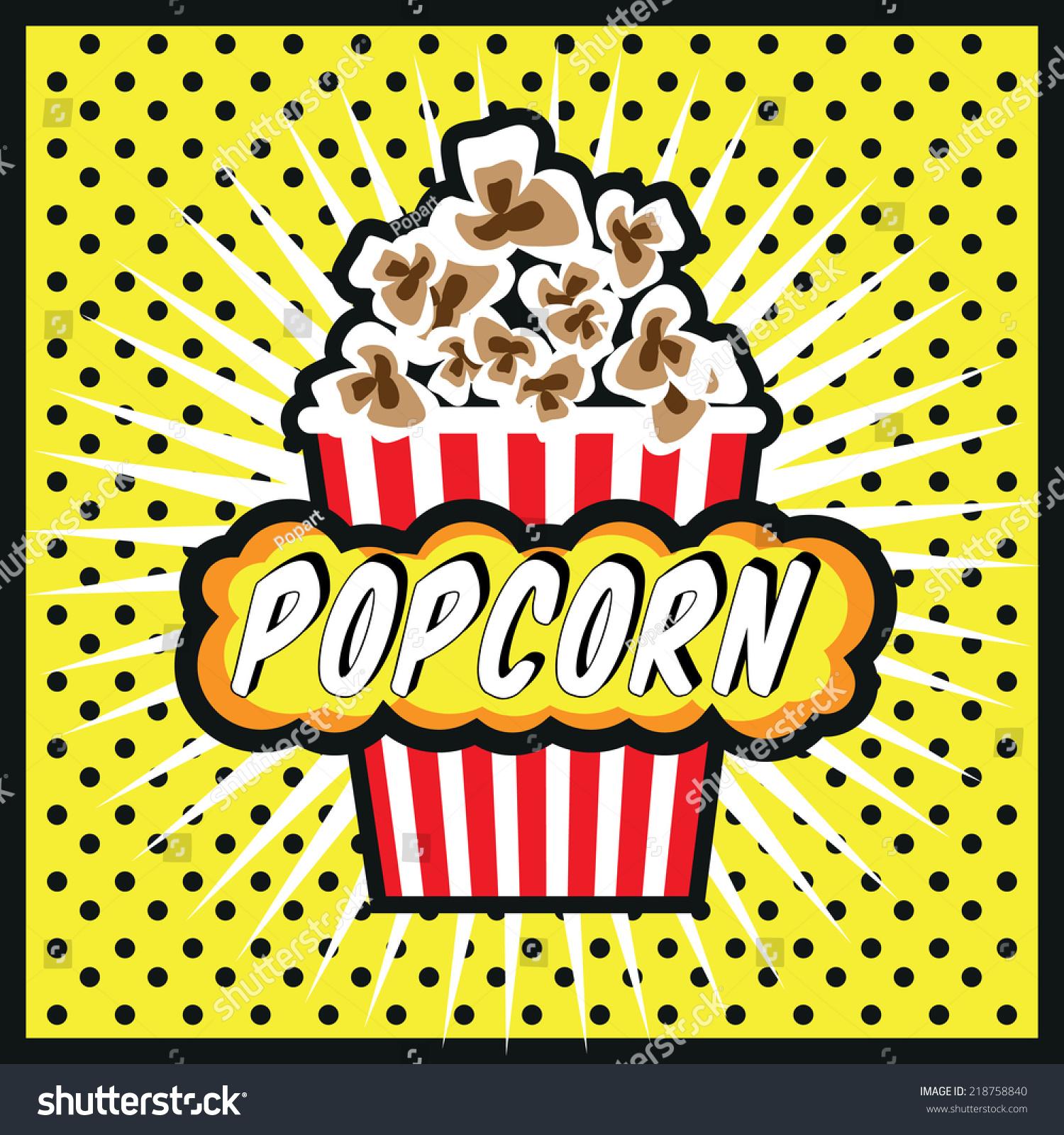 Popcorn Wallpaper: Pop Art Popcorn Design Illustration Popcorn Stock Vector