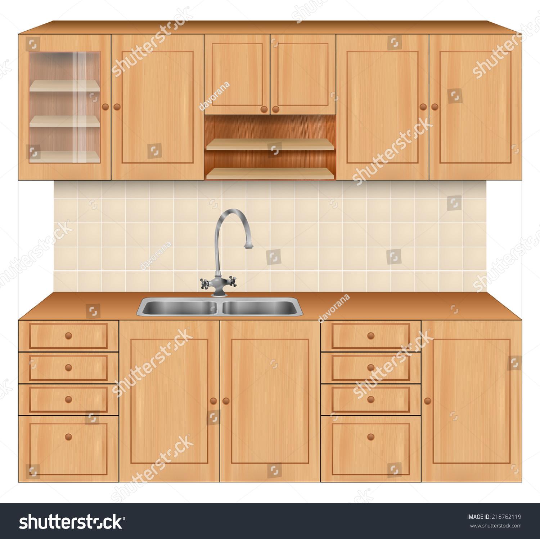 Kitchen Sink Realism Art: Luxury Kitchen Room Interior Bright Wooden Stock Vector