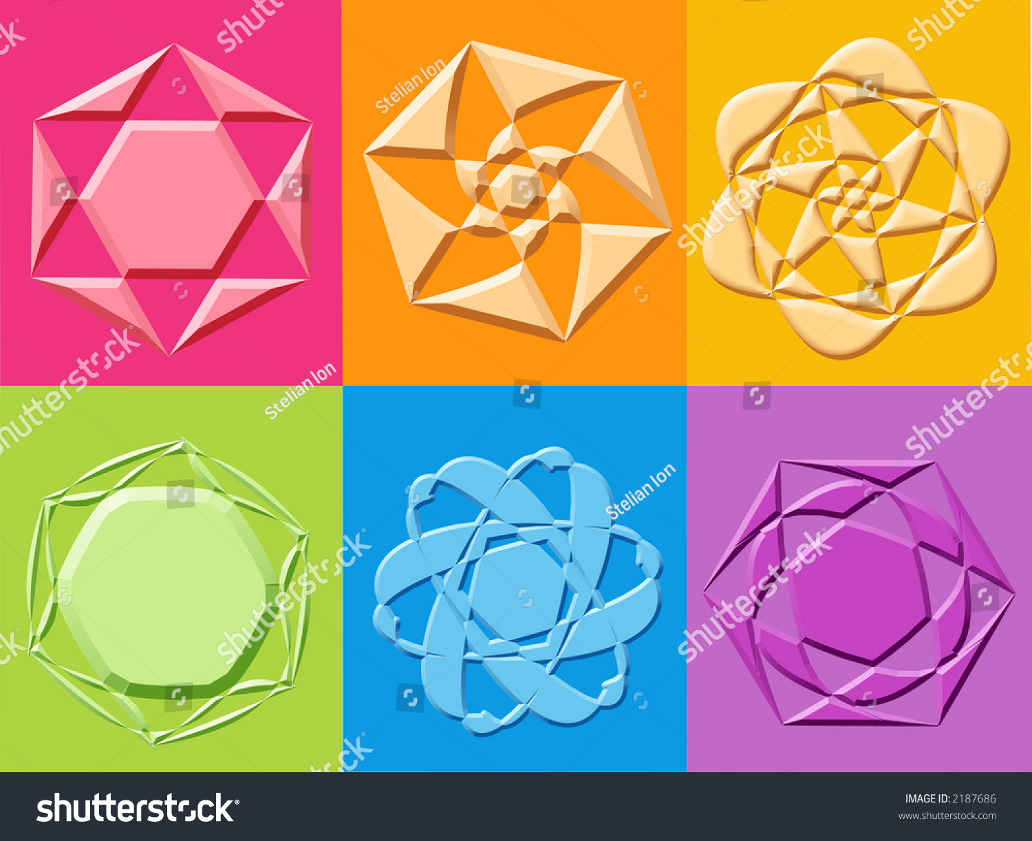 3 D Yantra Stars Flowers Symbols Computer Stock Illustration 2187686