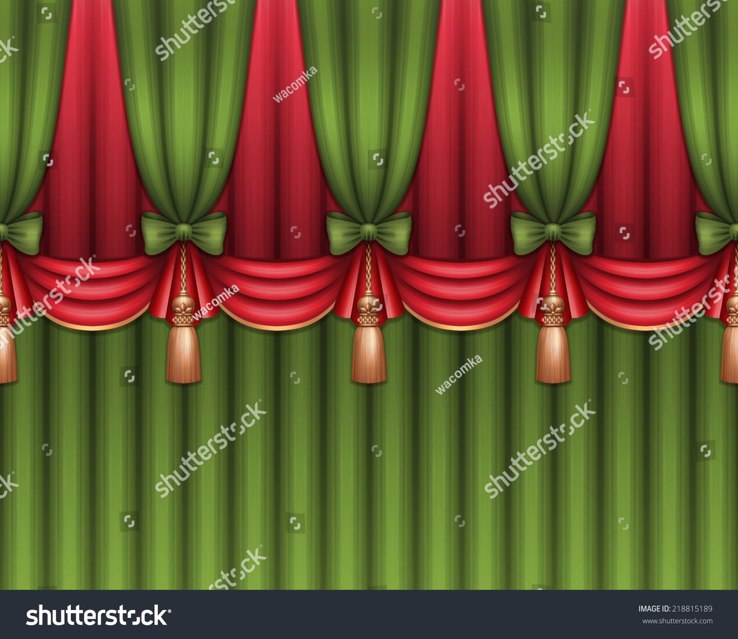 Green stage curtains - Red And Green Stage Curtain Drape Illustration Festive Christmas Background Seamless Border