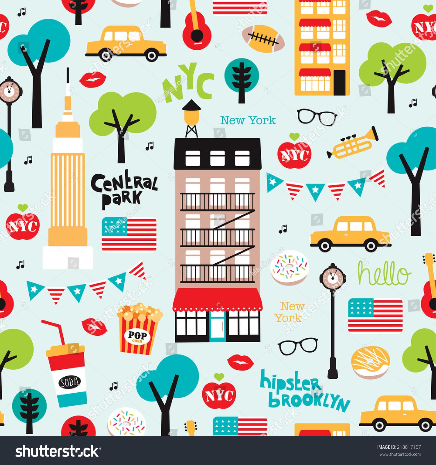 Seamless New York City Travel Icons Stock Vector 218817157