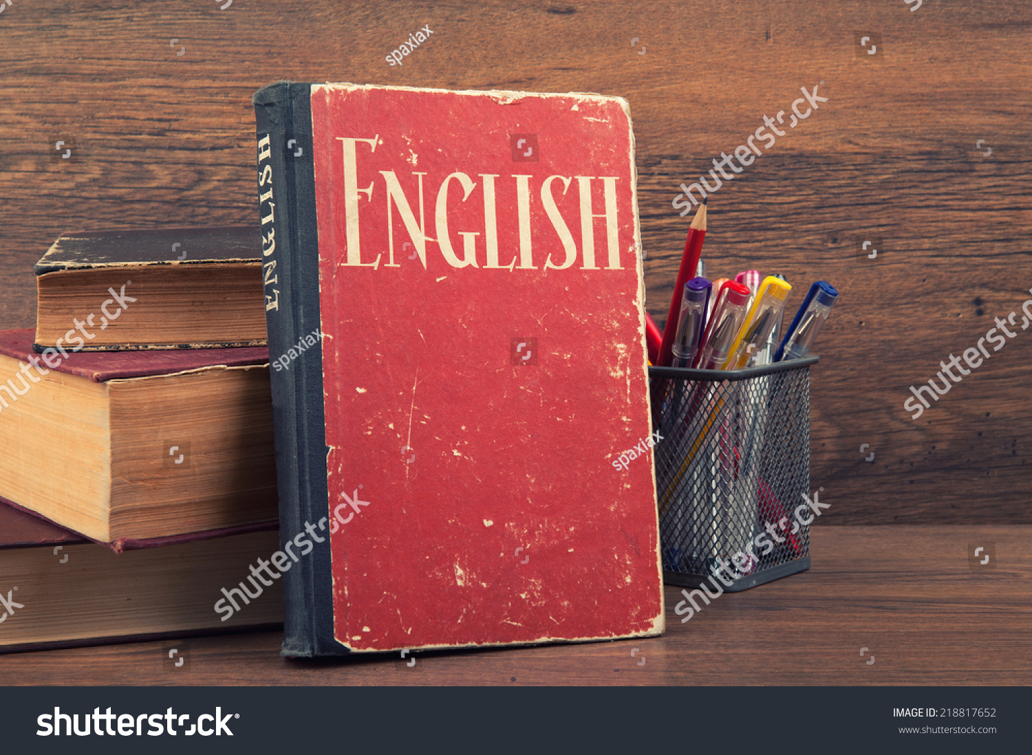 learning english concept. book on a wooden background #218817652