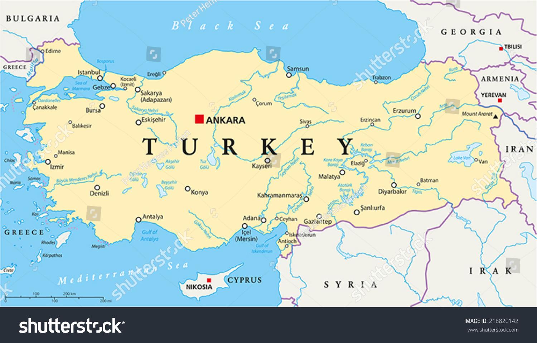 Turkey Political Map Capital Ankara National Stock Vector - English world political map