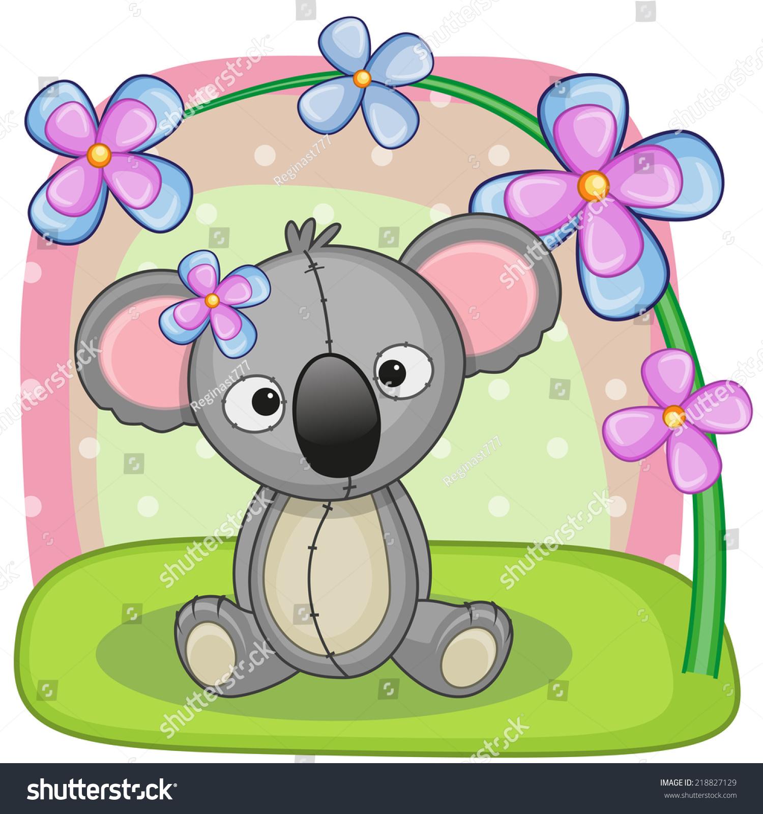 Greeting Card Koala Flowers Stock Illustration 218827129 Shutterstock