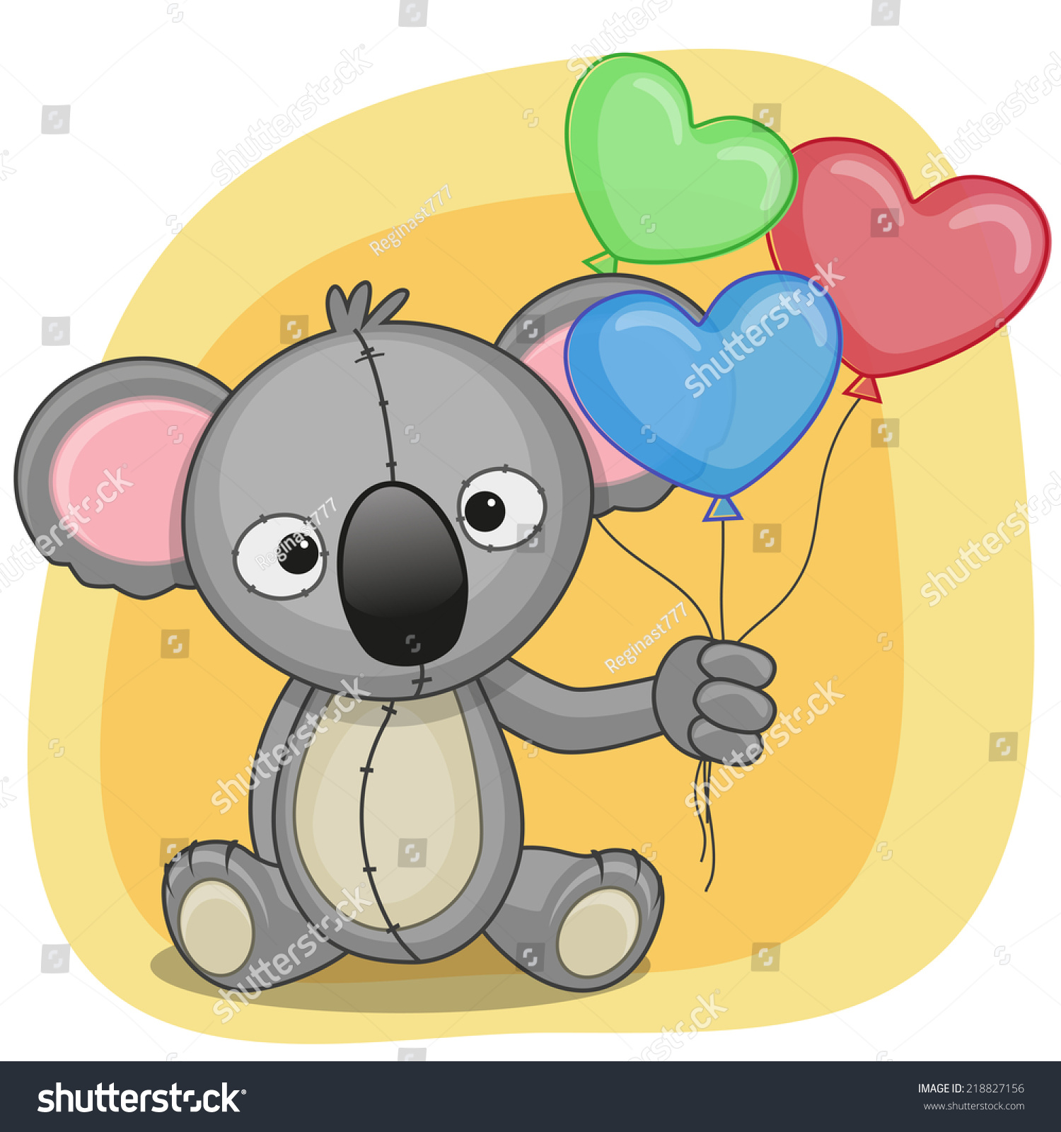Greeting Card Koala With Balloons Ez Canvas