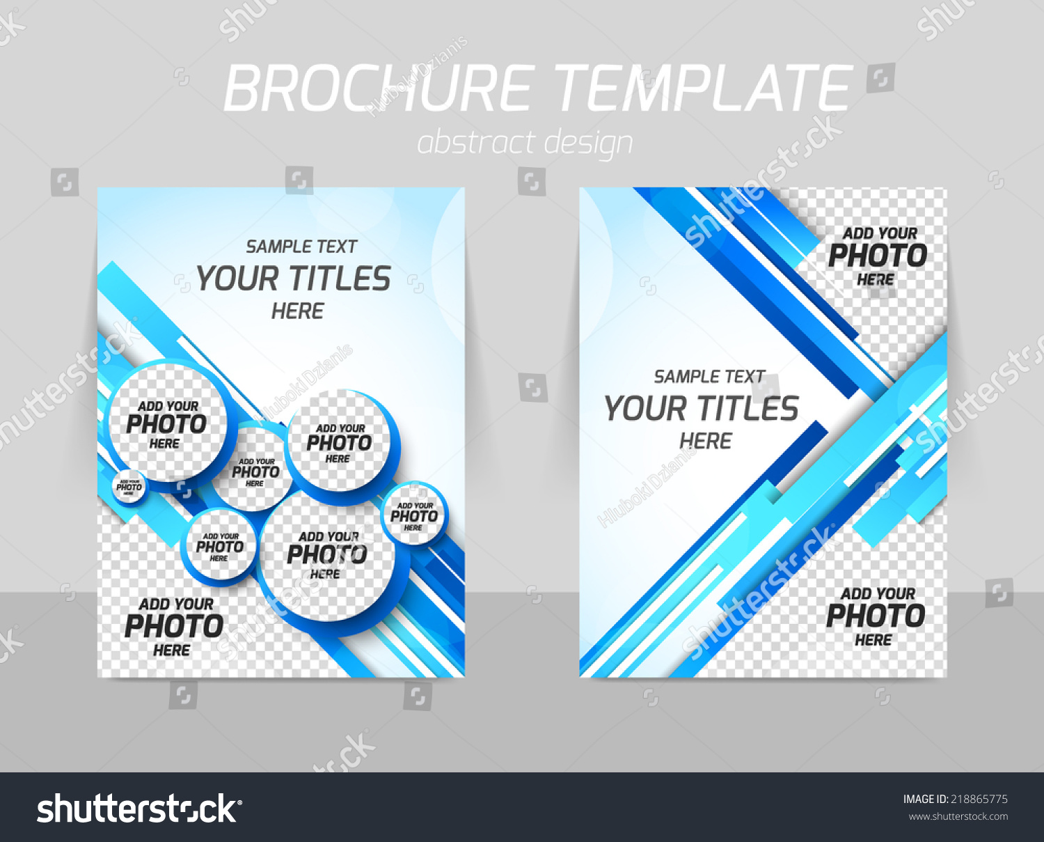 Flyer Template Back Front Design Blue Vector 218865775 – Blue Flyer Template