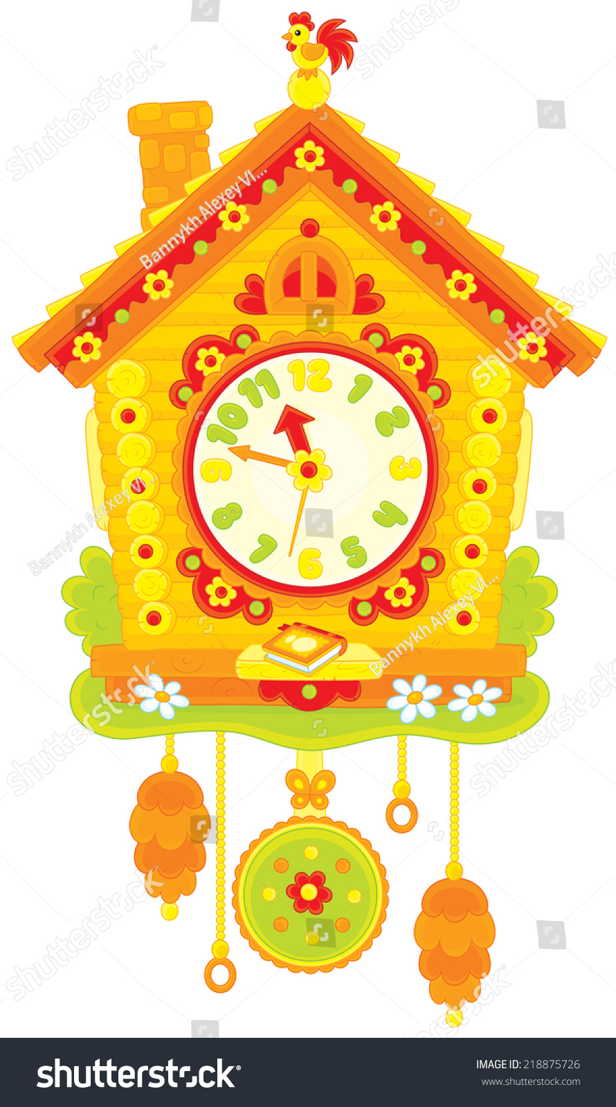 Cuckoo clock stock vector illustration 218875726 shutterstock - Colorful cuckoo clock ...