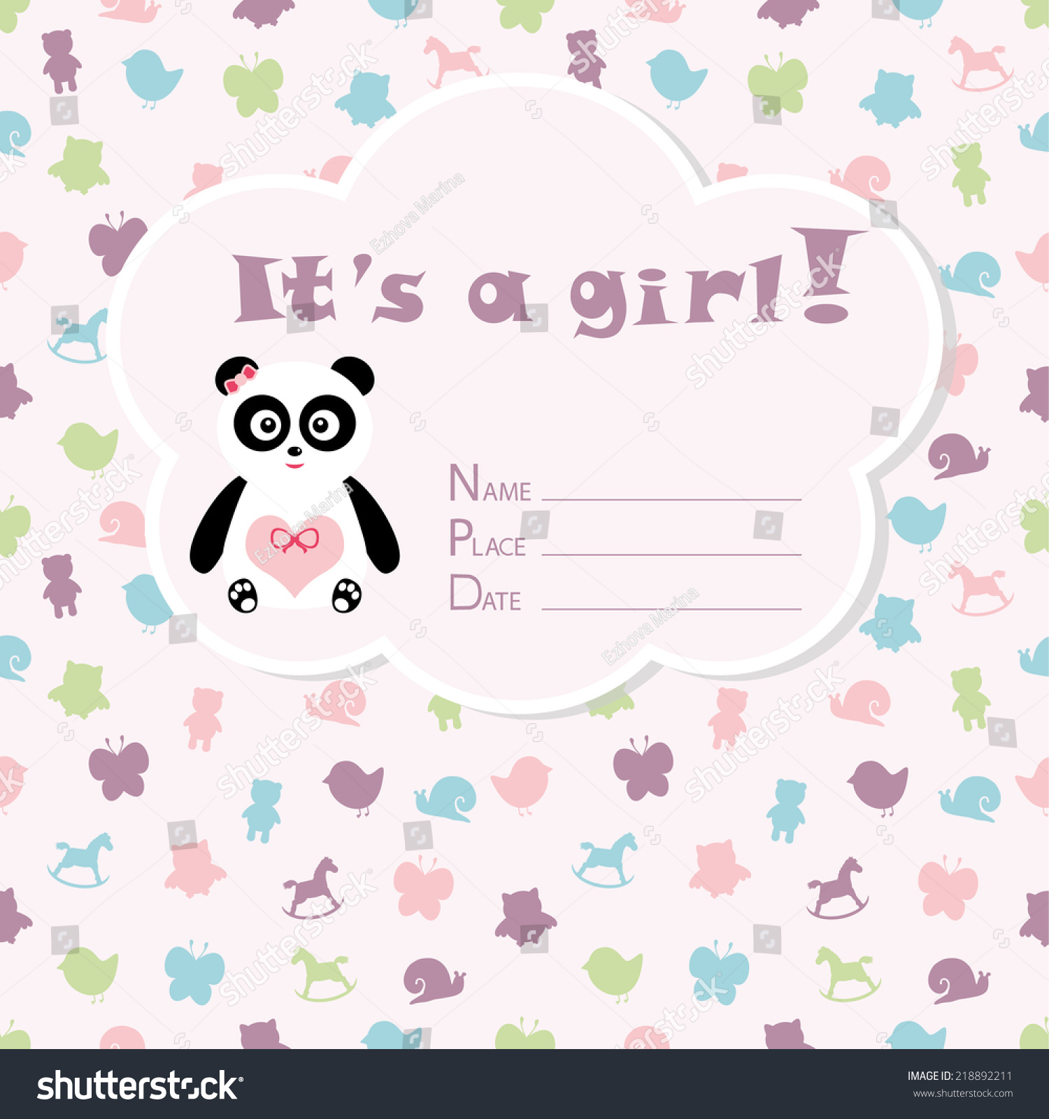 Baby Girl Arrival Card. Baby Shower Card. Newborn Baby Card With Panda, Baby