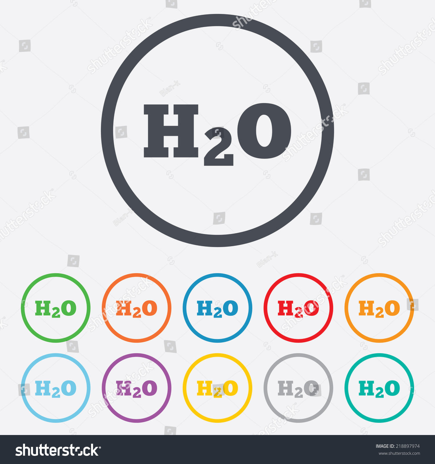 H 2 O Water Formula Sign Icon Chemistry Stock Illustration 218897974