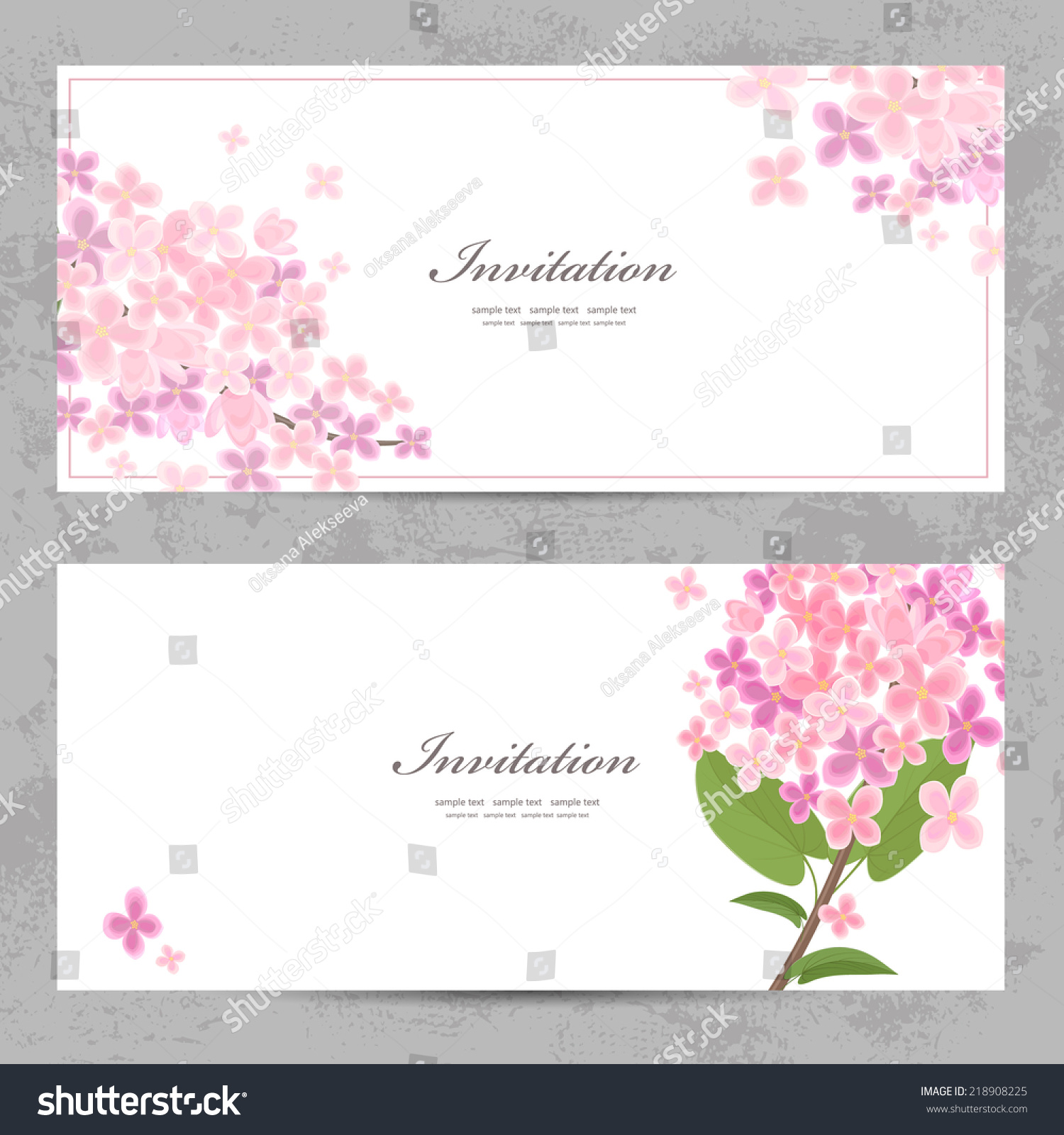 Invitation Cards Beautiful Flowers Your Design Stock Vector Royalty