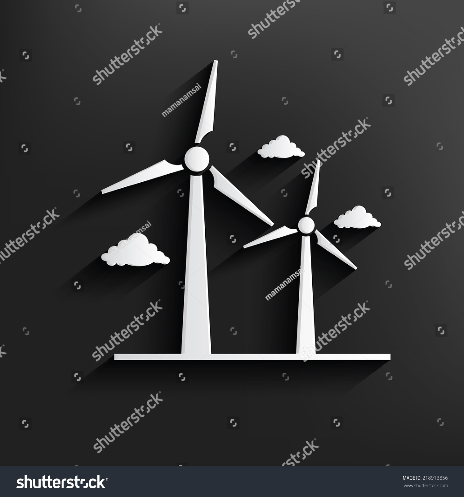 Wind Turbine Symbol On Backgroundclean Vector Stock Vector Royalty