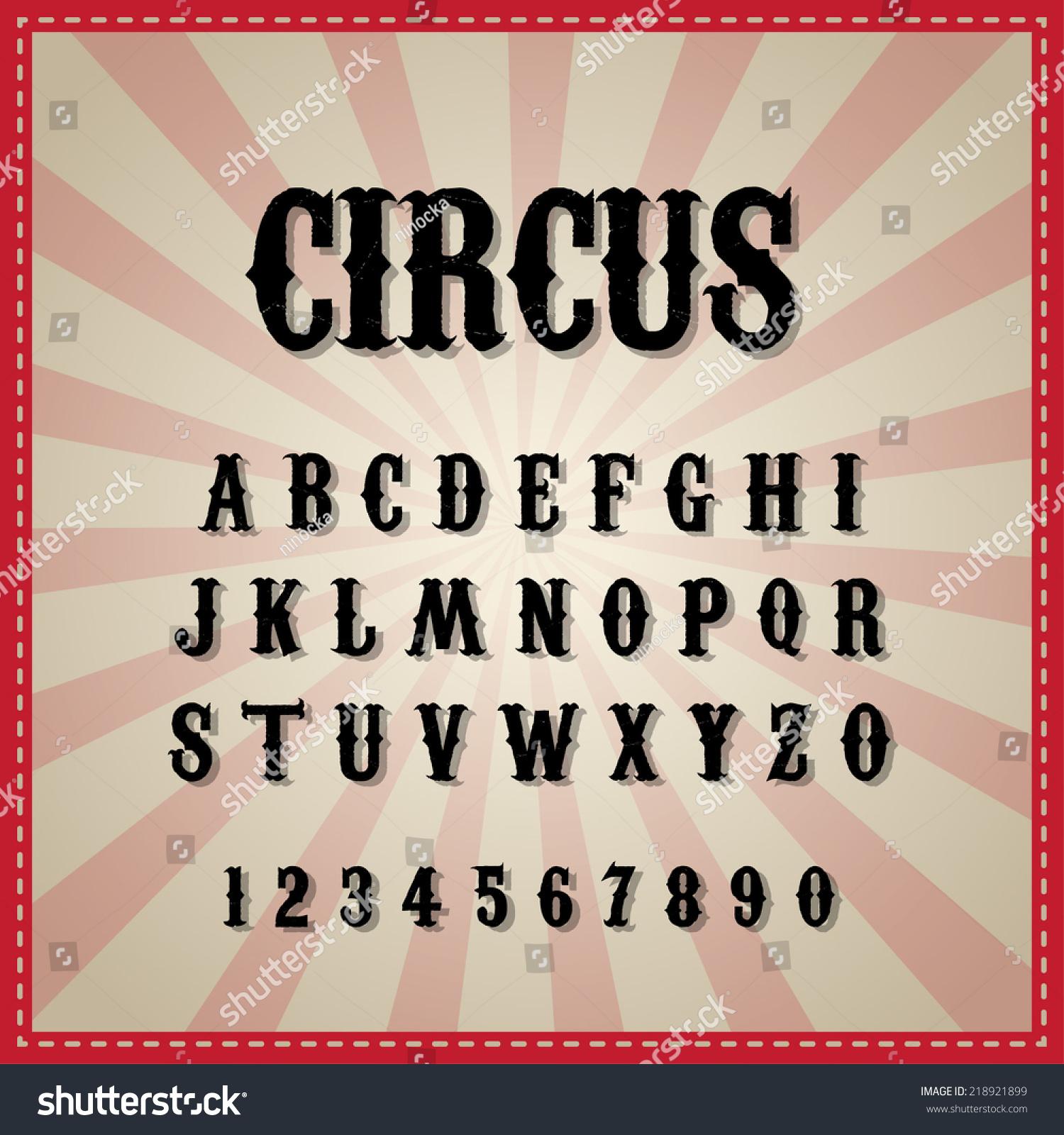 vintage circus font stock vector 218921899 shutterstock
