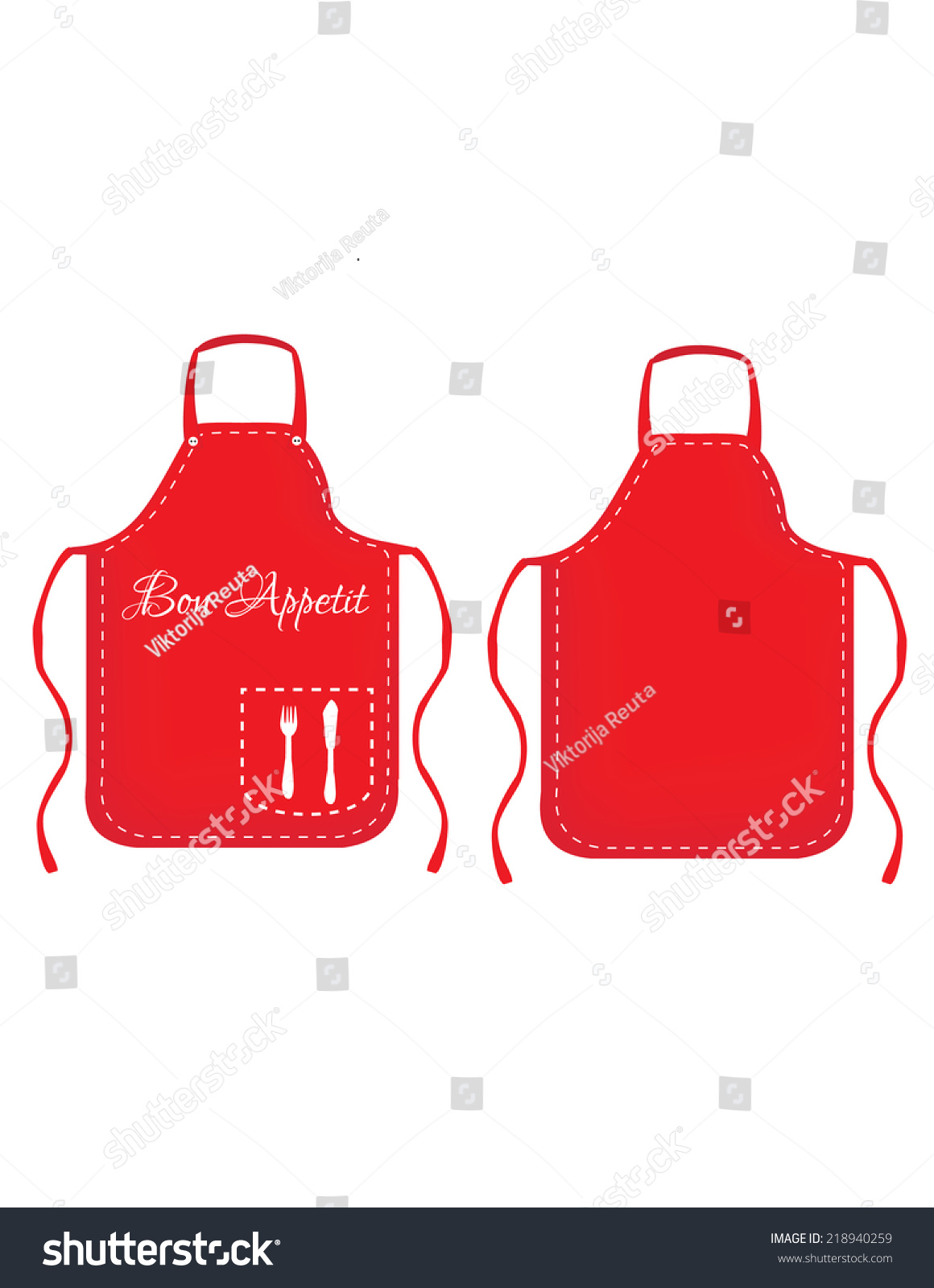 Illustration Apron Red Apron White Kitchen Stock Vector 218940259 ...
