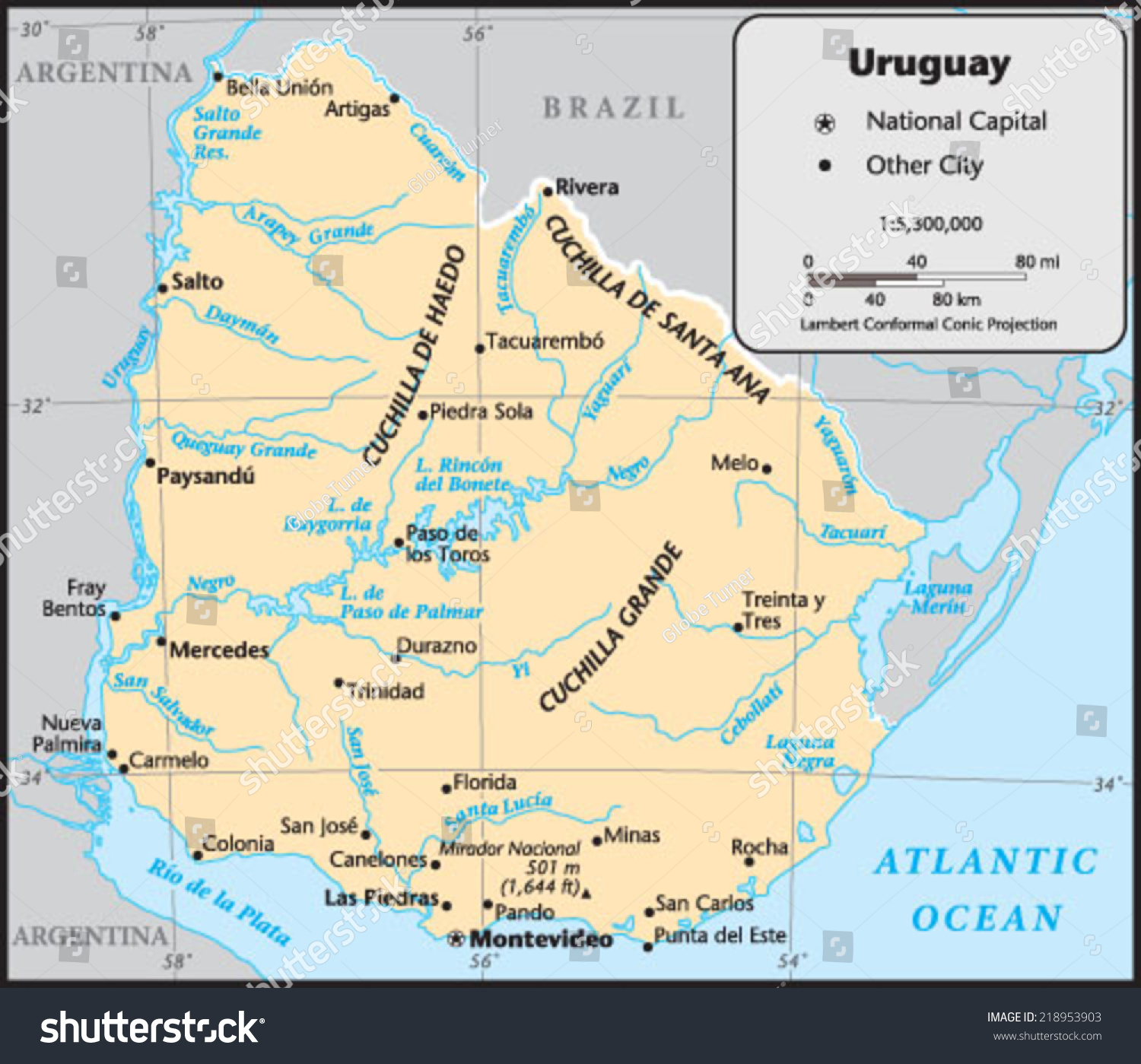 Uruguay Country Map Stock Vector 218953903 Shutterstock