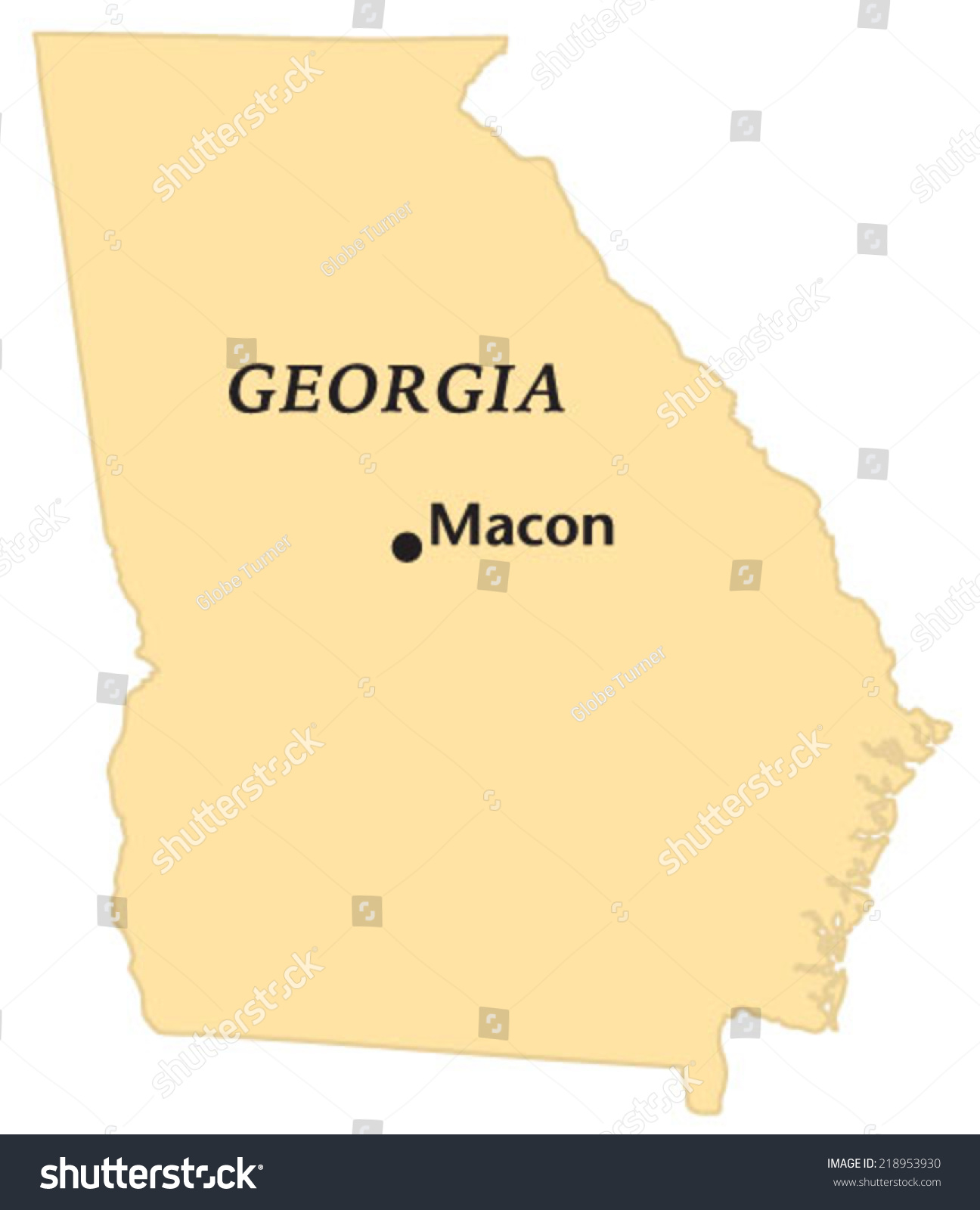 Macon Georgia Locate Map Stock Vector Shutterstock - Georgia map macon