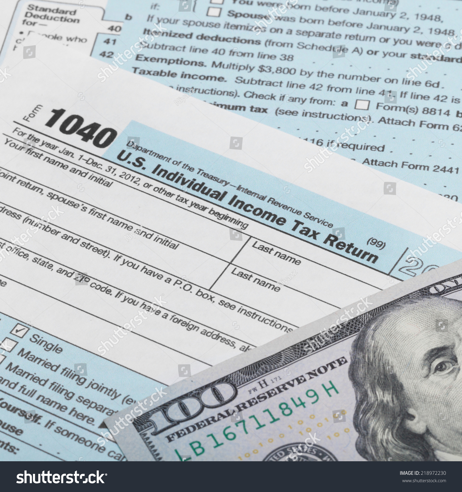 Us tax form 1040 100 dollars stock photo 218972230 shutterstock us tax form 1040 with 100 dollars banknote above it 1 to 1 ratio falaconquin