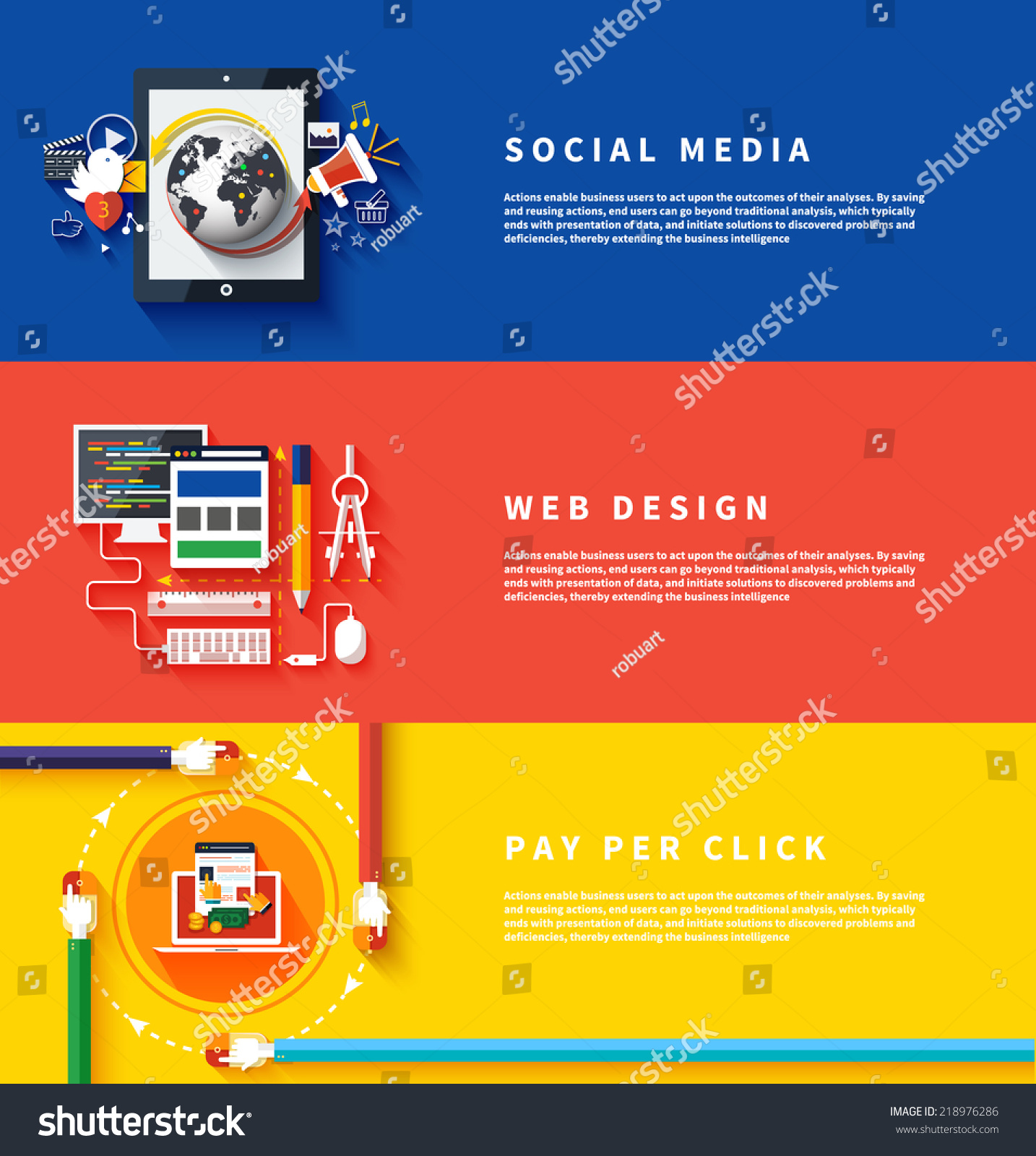 Icons Web Design Seo Social Media Stock Vector Royalty Free 218976286