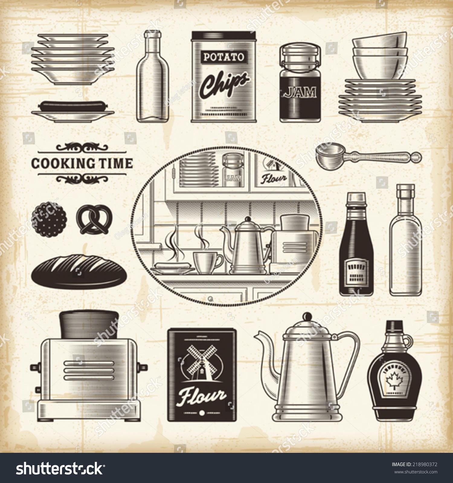Vintage kitchen set fully editable eps10 vector for Kitchen set vector