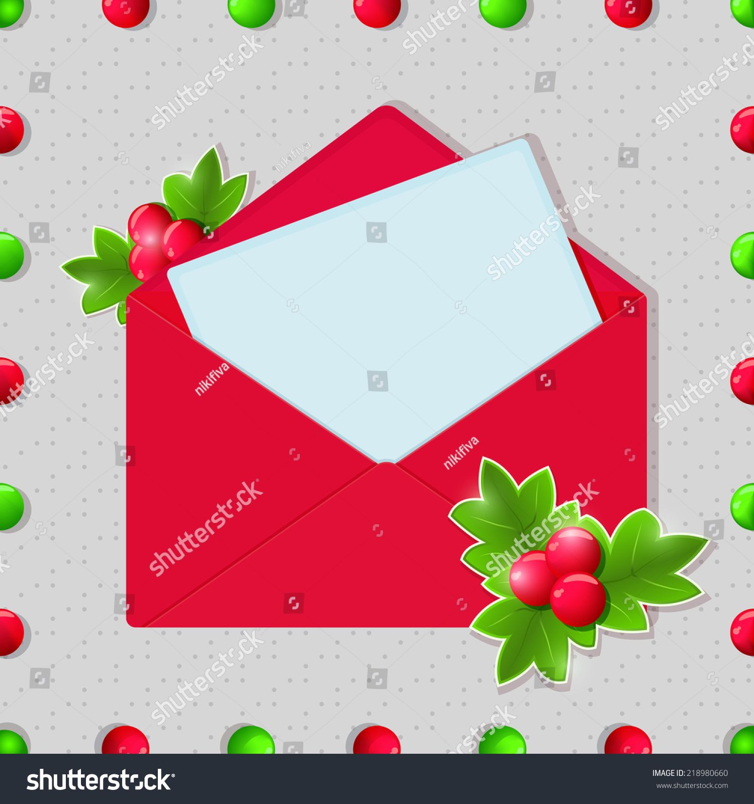 christmas and new year blank card in red envelope