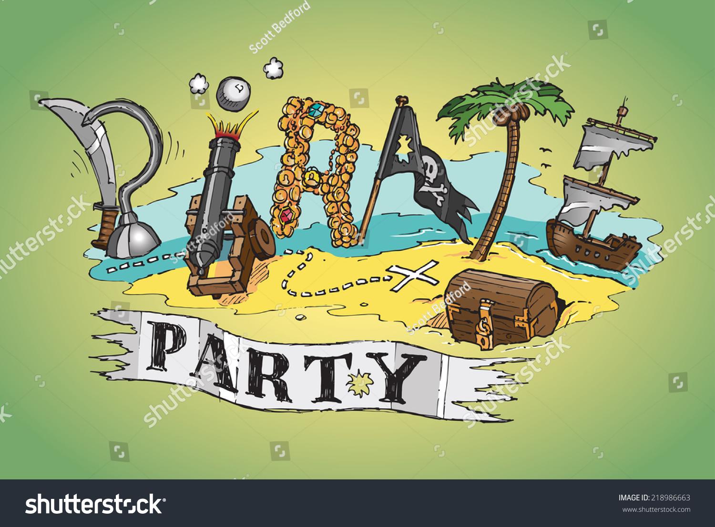 Pirate Party Invite Poster Design Hand Stock Photo (Photo, Vector ...