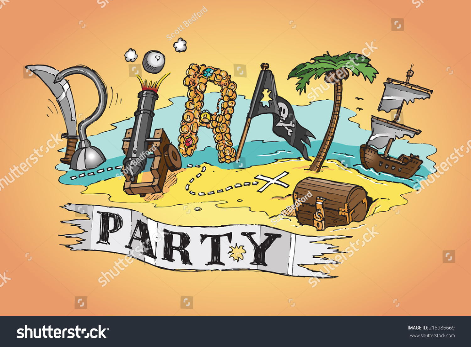 Pirate Party Invite Poster Background Hand Stock Vector 218986669 ...