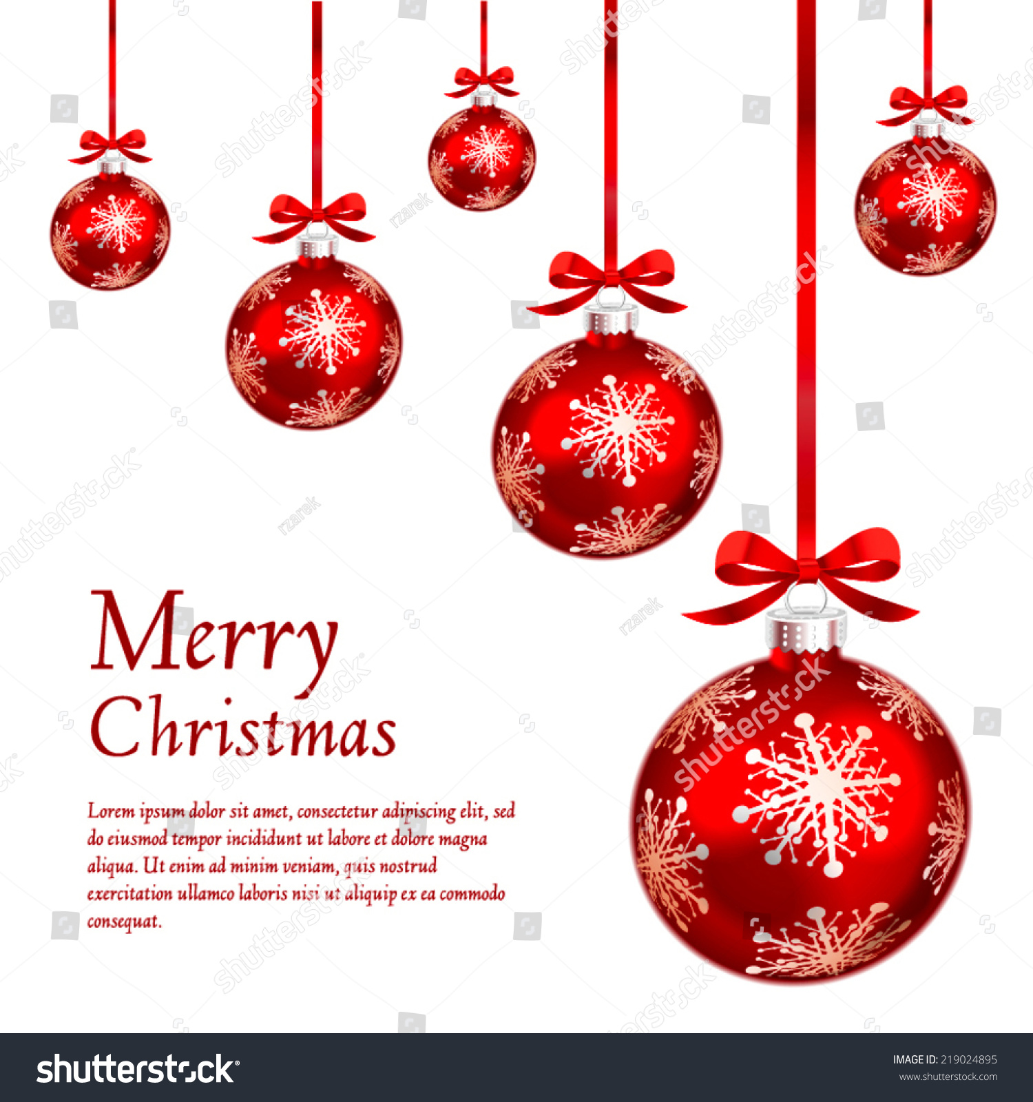 Christmas Ornament Illustration Part - 50: Card With Red Christmas Ornaments. Vector Illustration.