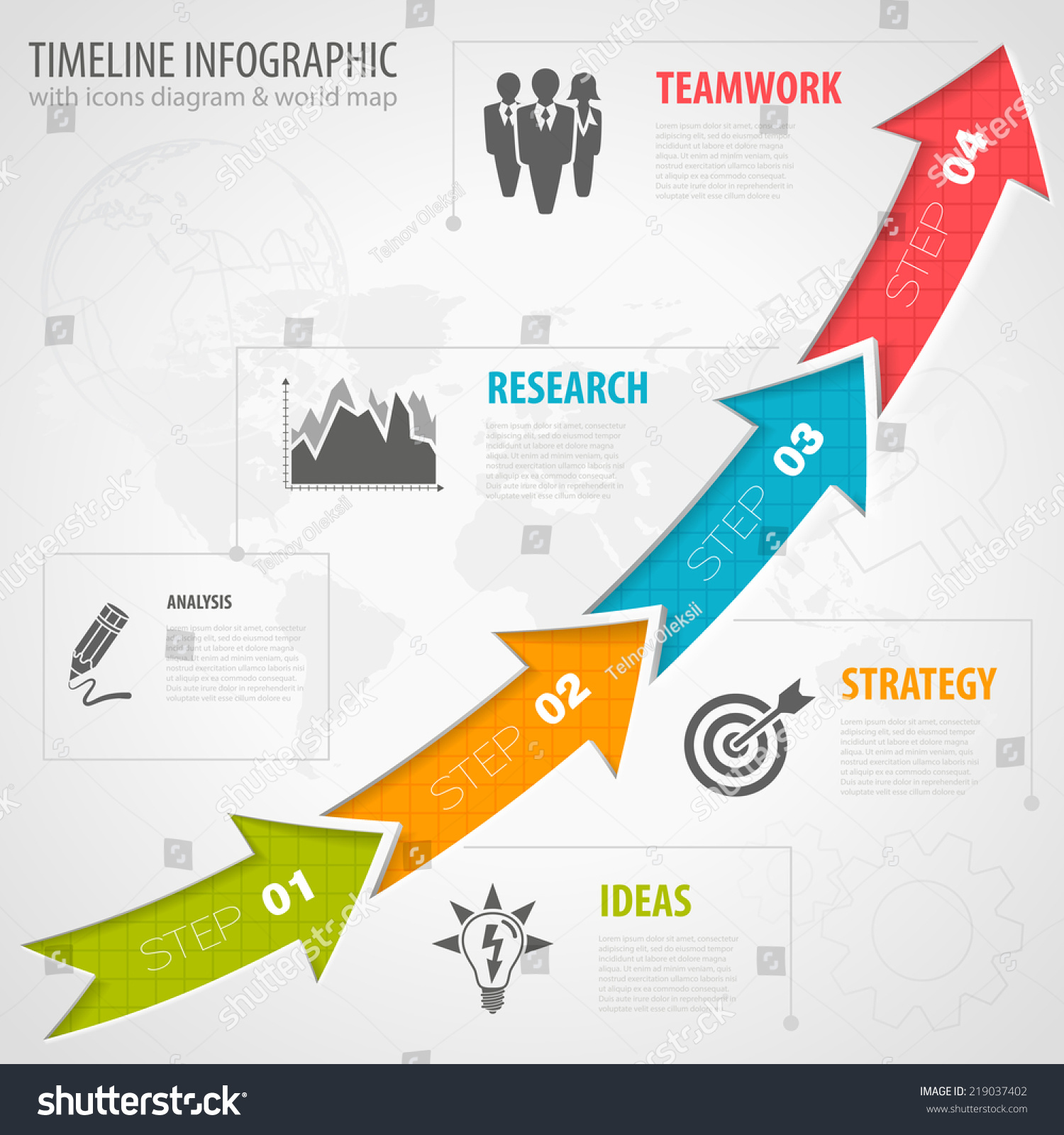 Business Timeline Infographic Arrows Icons Number Vector – Business Timeline Template