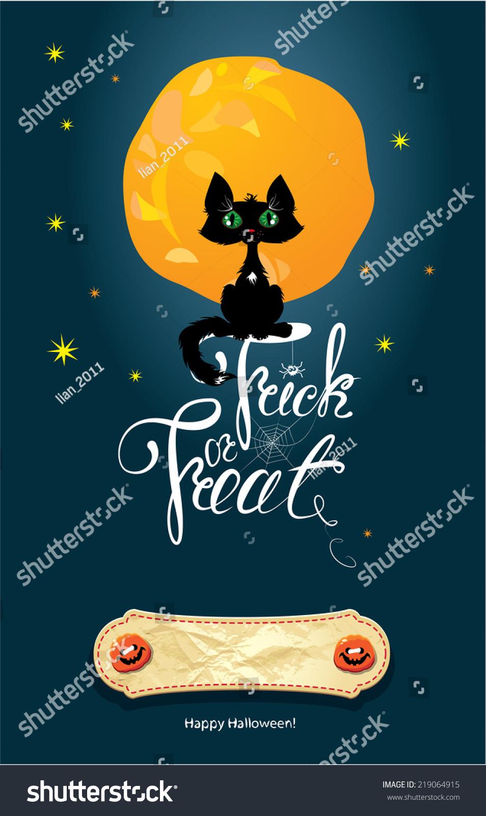 halloween night cat on moon sky stock vector (royalty free